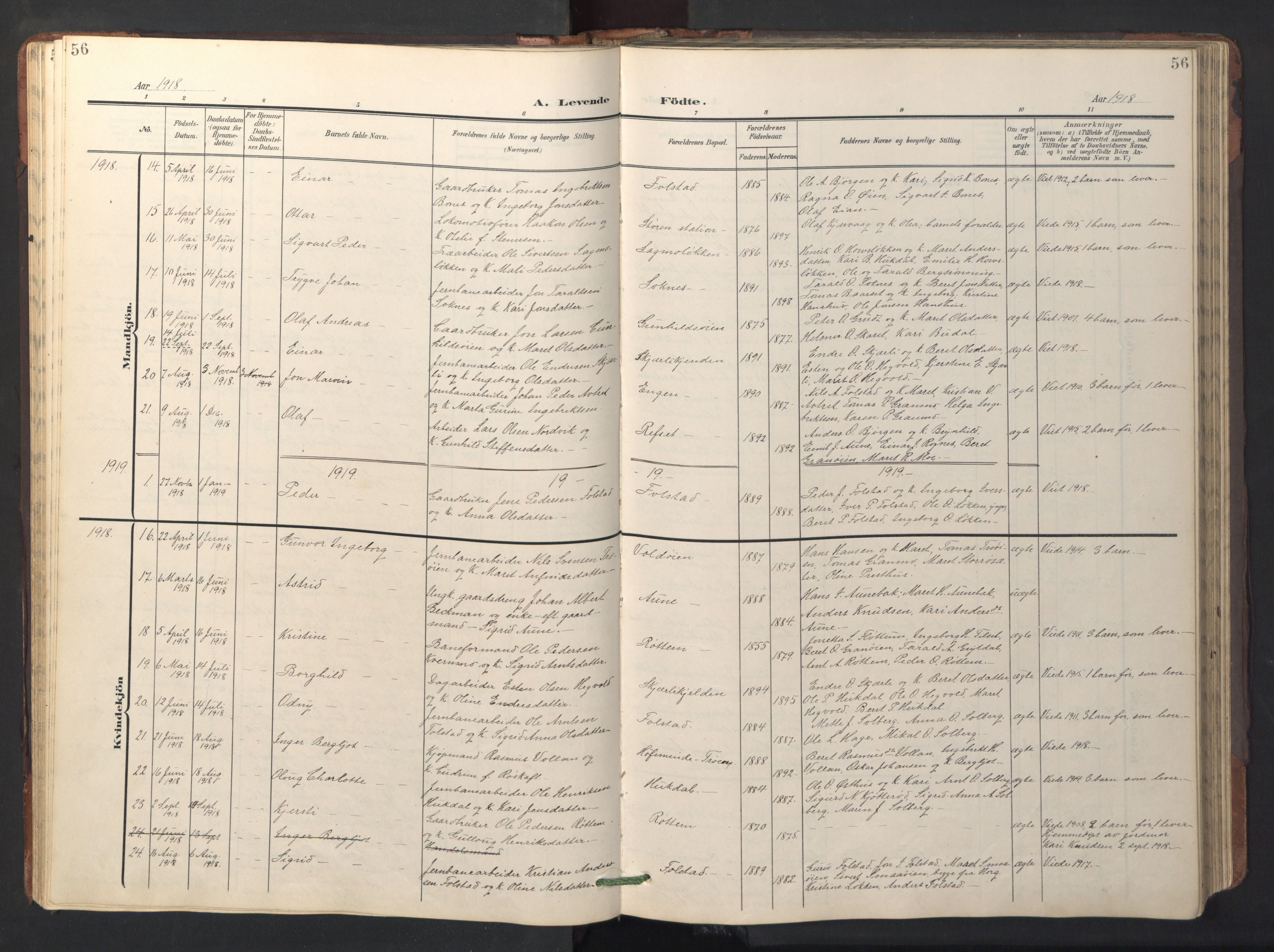 SAT, Ministerialprotokoller, klokkerbøker og fødselsregistre - Sør-Trøndelag, 687/L1019: Klokkerbok nr. 687C03, 1904-1931, s. 56