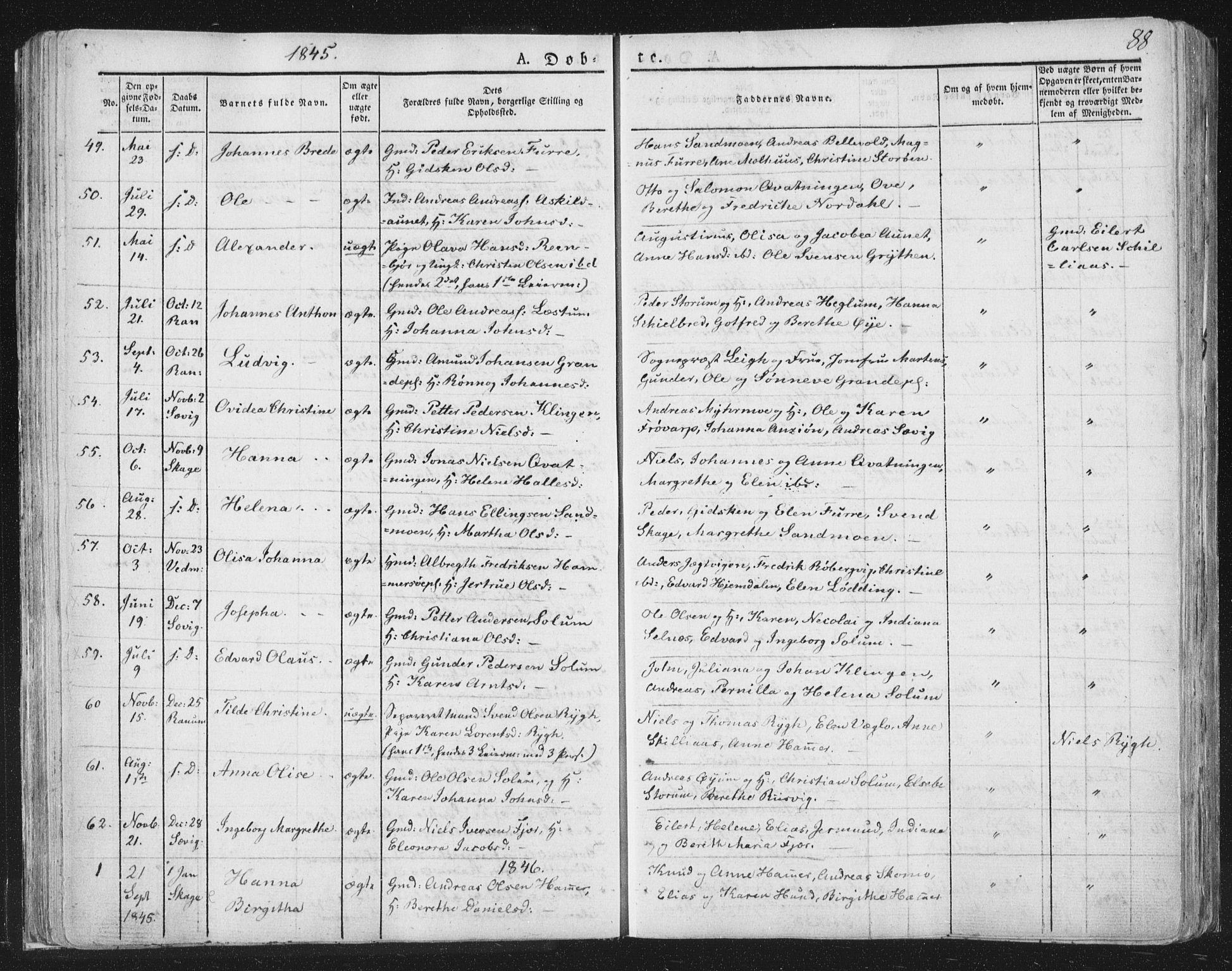 SAT, Ministerialprotokoller, klokkerbøker og fødselsregistre - Nord-Trøndelag, 764/L0551: Ministerialbok nr. 764A07a, 1824-1864, s. 88