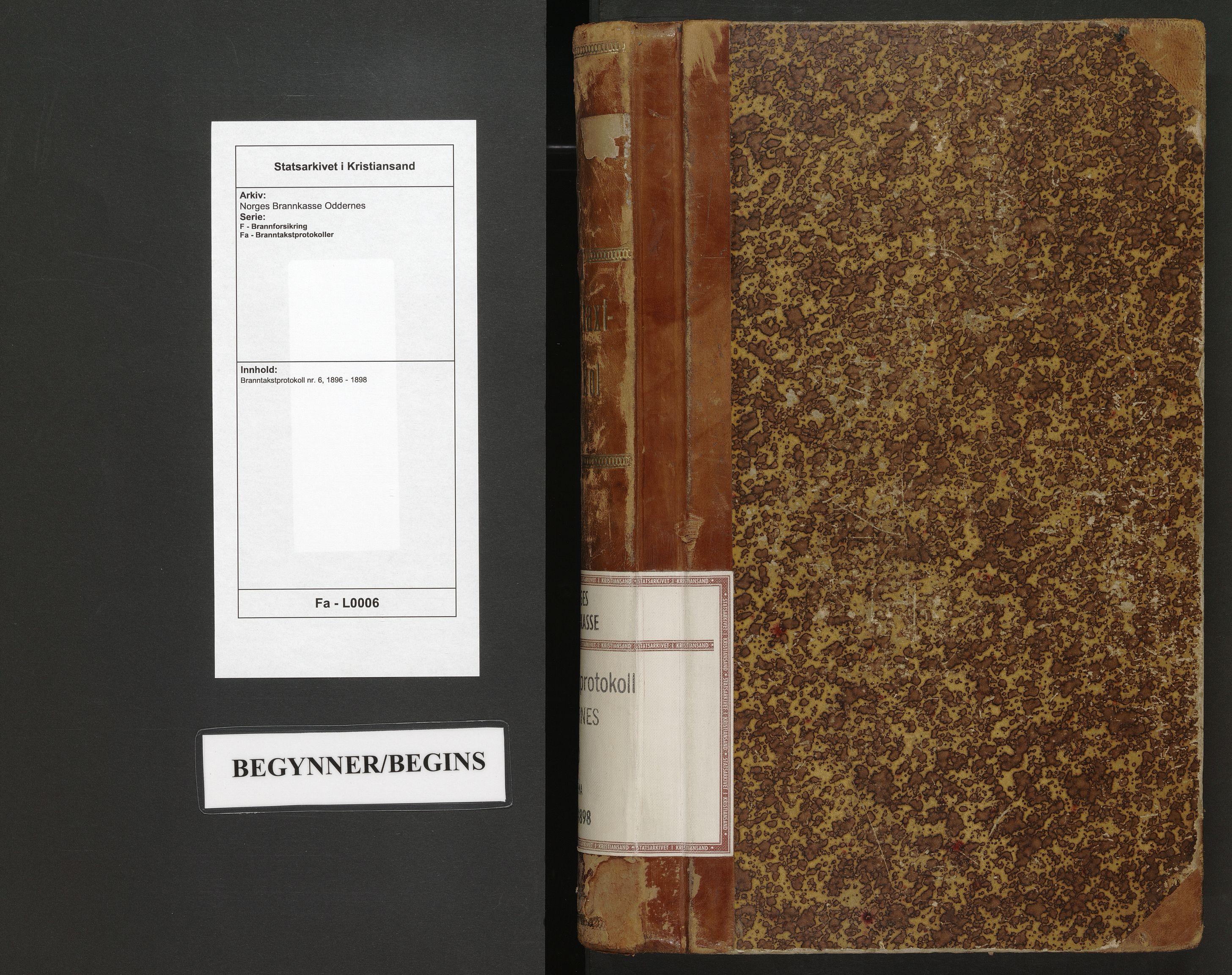 SAK, Norges Brannkasse Oddernes, F/Fa/L0006: Branntakstprotokoll nr. 6, 1896-1898