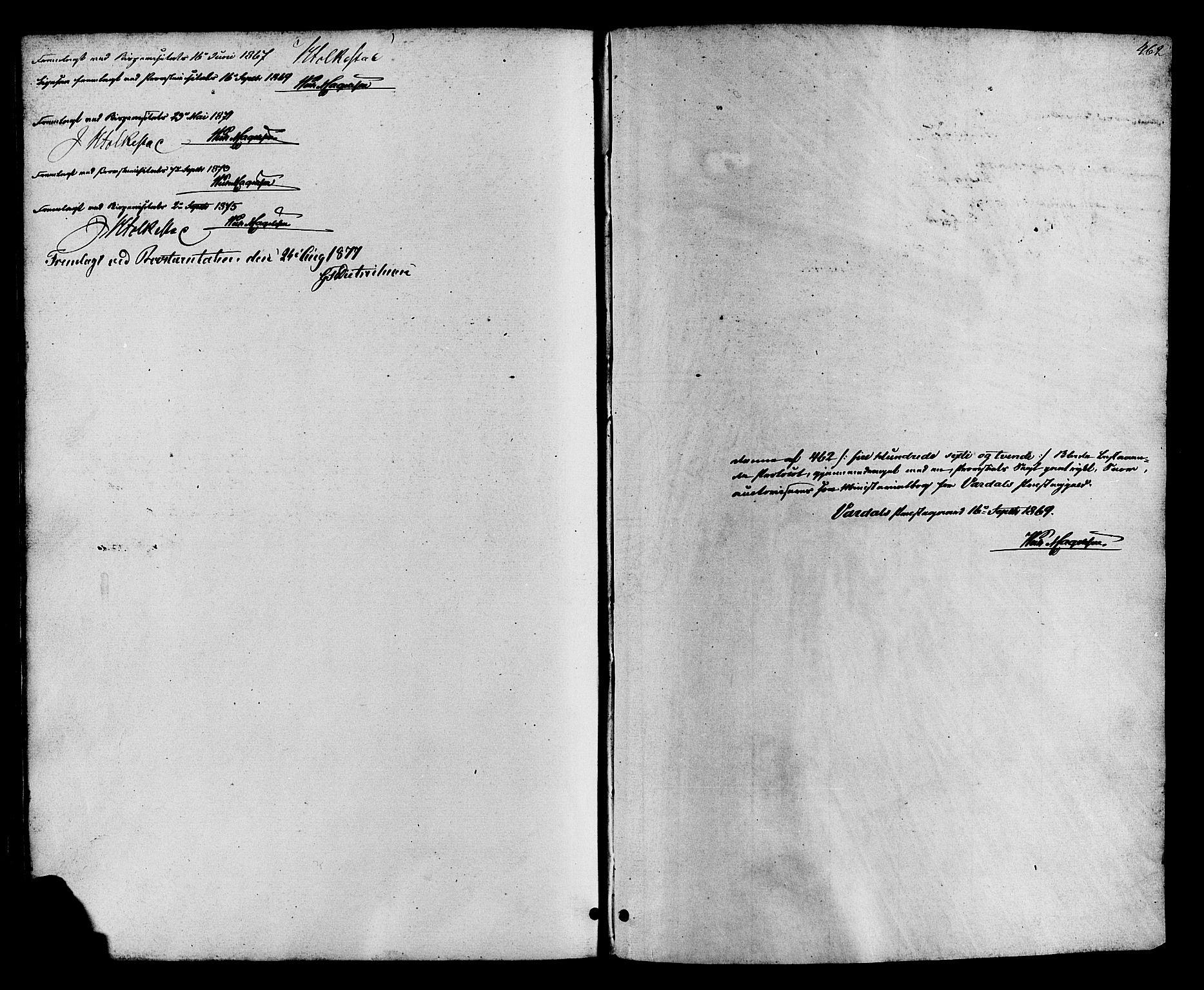 SAH, Vardal prestekontor, H/Ha/Haa/L0007: Ministerialbok nr. 7, 1867-1878, s. 462