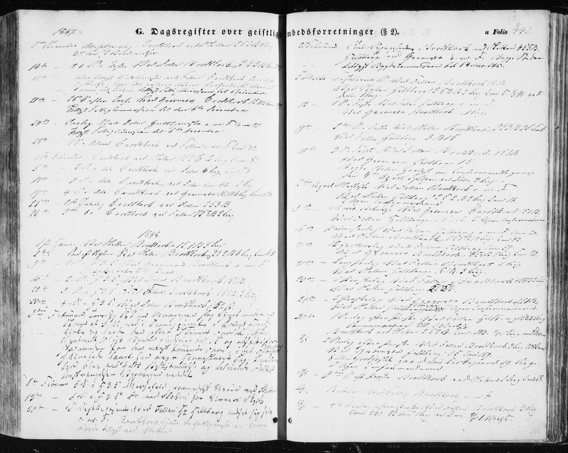 SAT, Ministerialprotokoller, klokkerbøker og fødselsregistre - Sør-Trøndelag, 634/L0529: Ministerialbok nr. 634A05, 1843-1851, s. 442
