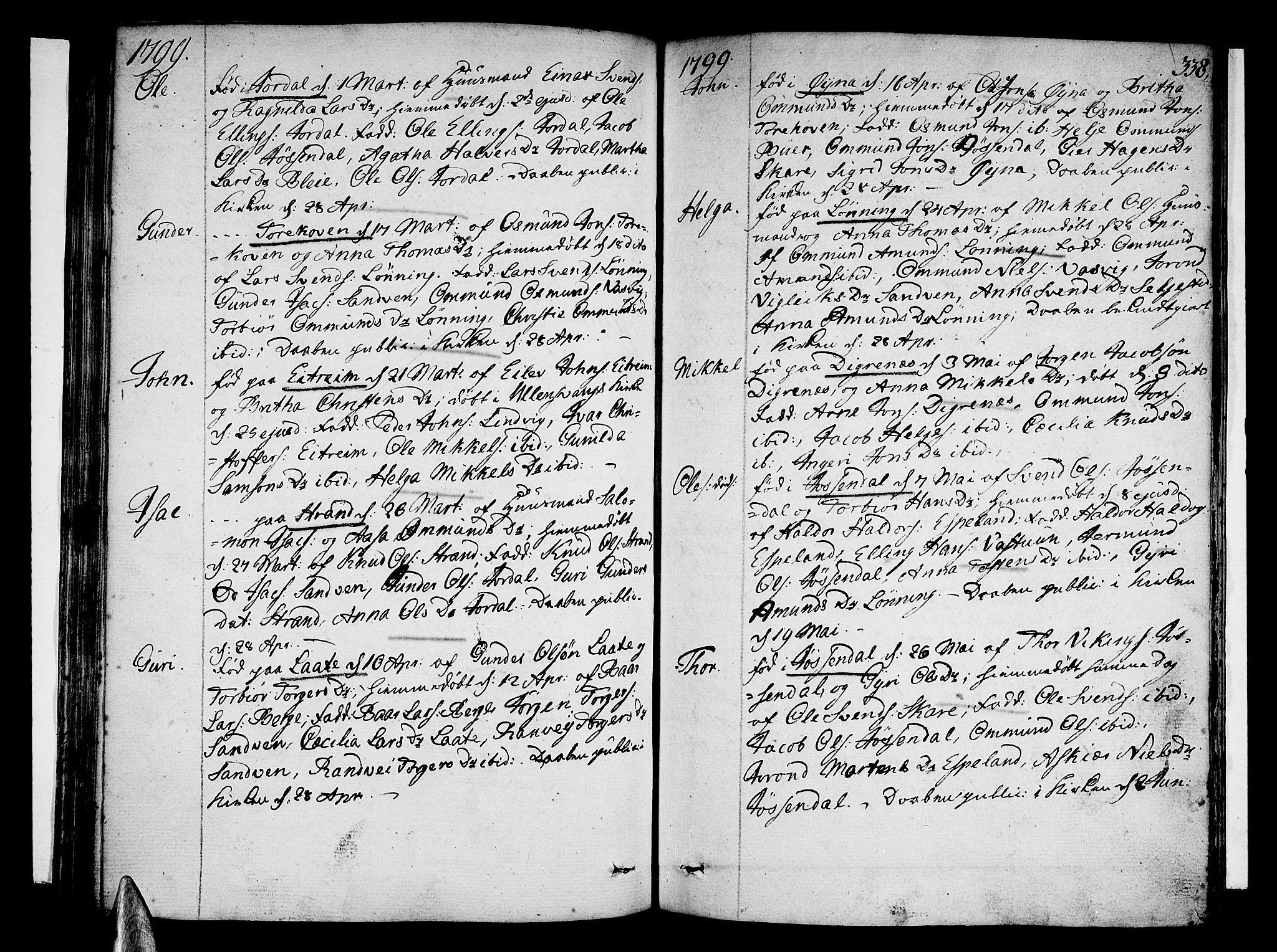 SAB, Ullensvang Sokneprestembete, H/Haa: Ministerialbok nr. A 7 /3, 1788-1804, s. 337-338