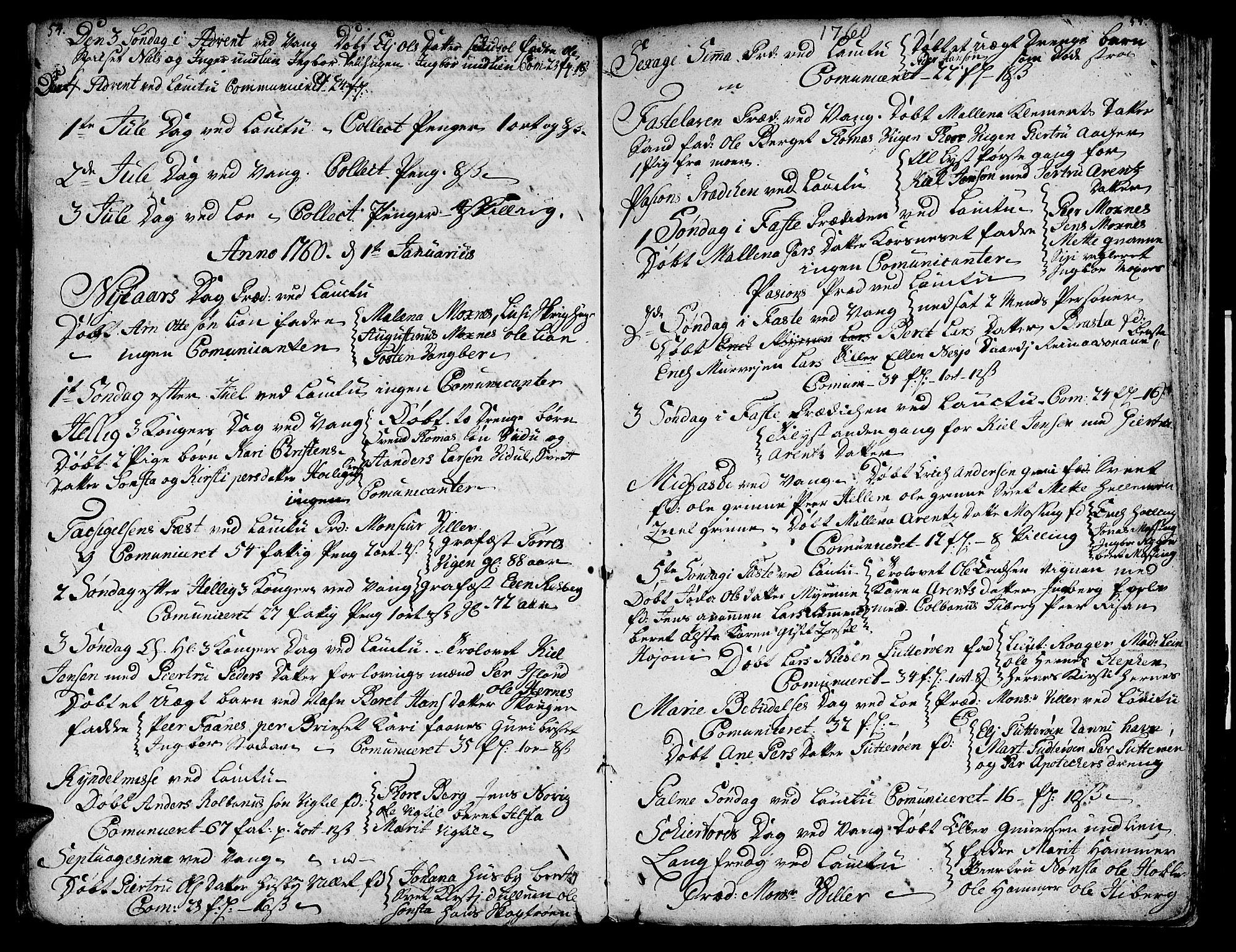 SAT, Ministerialprotokoller, klokkerbøker og fødselsregistre - Nord-Trøndelag, 713/L0109: Ministerialbok nr. 713A01, 1750-1778, s. 54-55