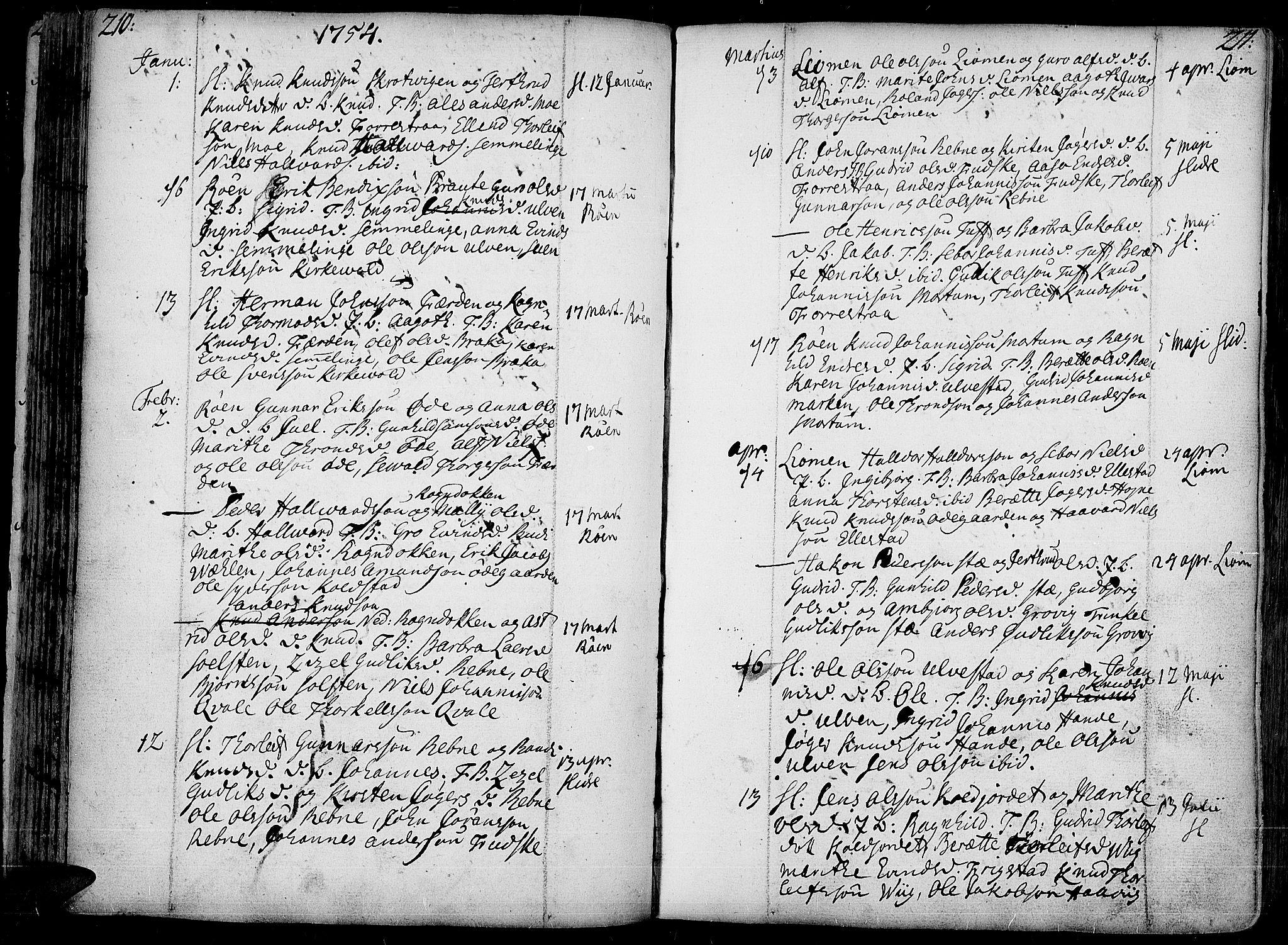 SAH, Slidre prestekontor, Ministerialbok nr. 1, 1724-1814, s. 210-211