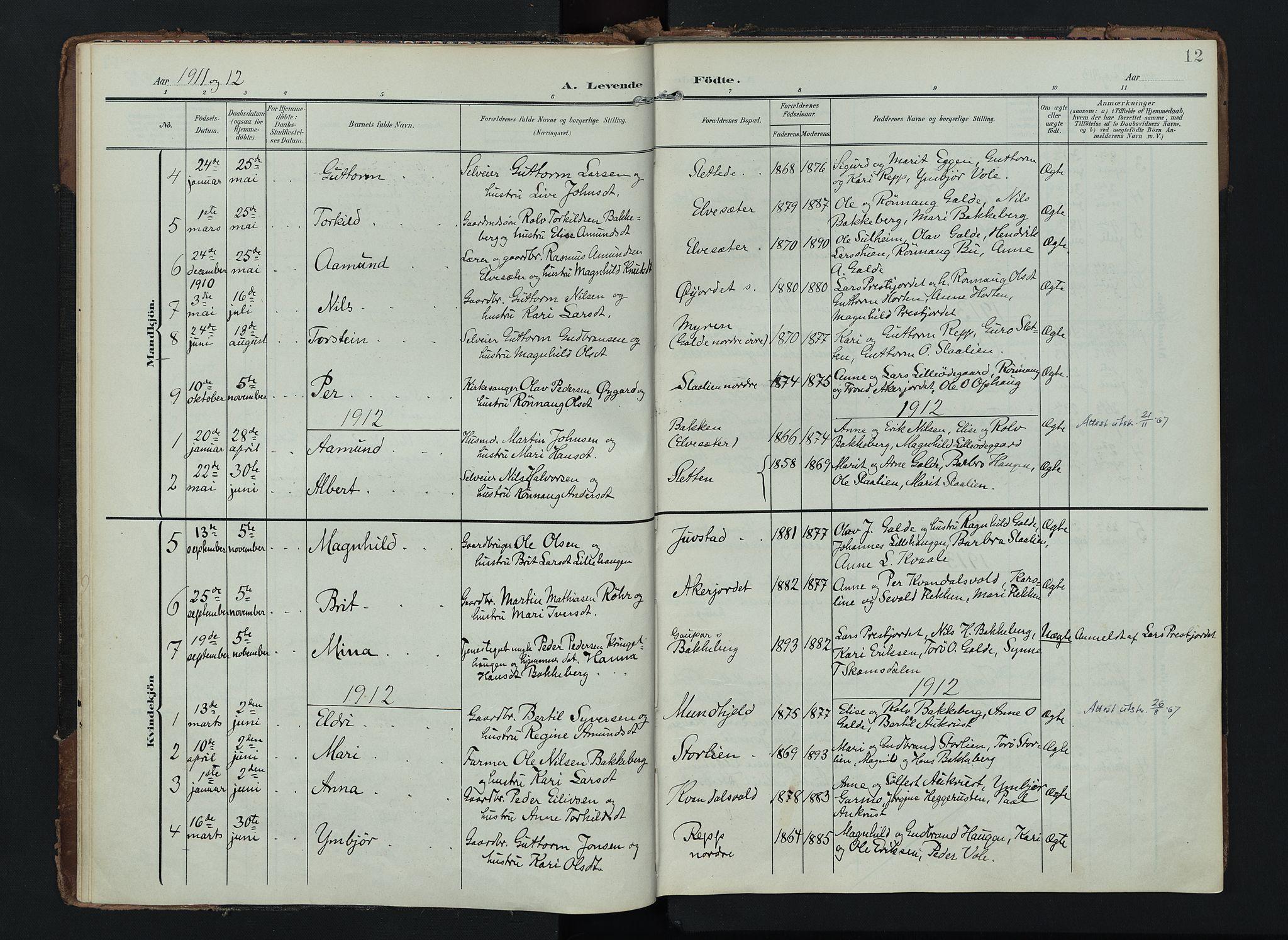 SAH, Lom prestekontor, K/L0012: Ministerialbok nr. 12, 1904-1928, s. 12