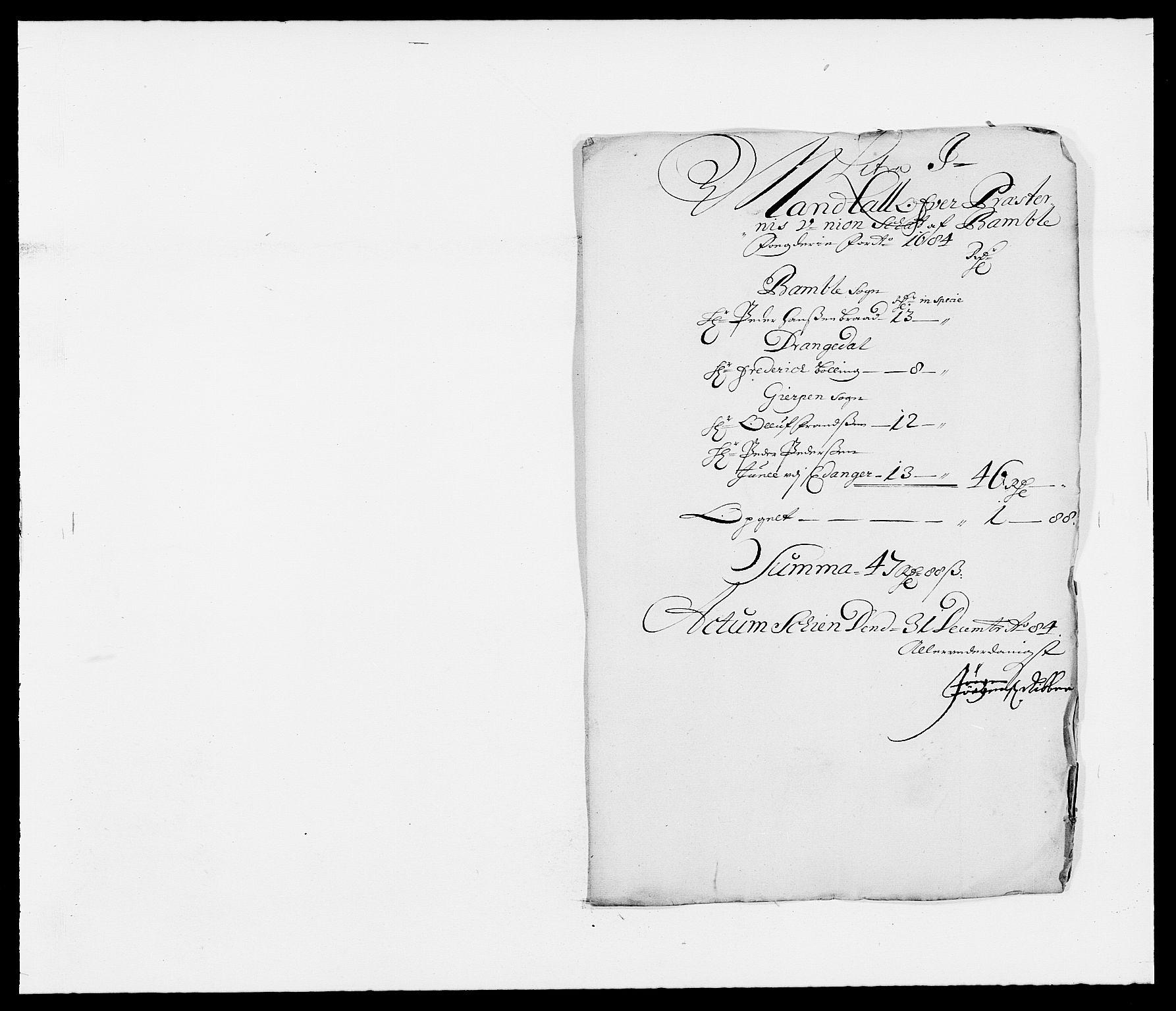 RA, Rentekammeret inntil 1814, Reviderte regnskaper, Fogderegnskap, R34/L2047: Fogderegnskap Bamble, 1684, s. 154