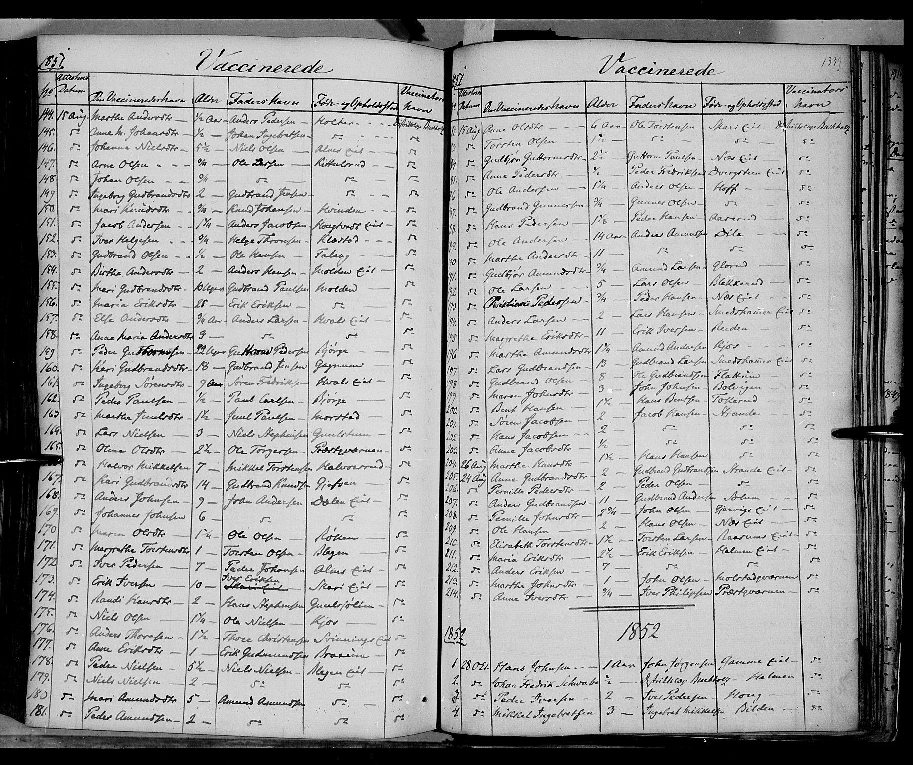 SAH, Gran prestekontor, Ministerialbok nr. 11, 1842-1856, s. 1338-1339