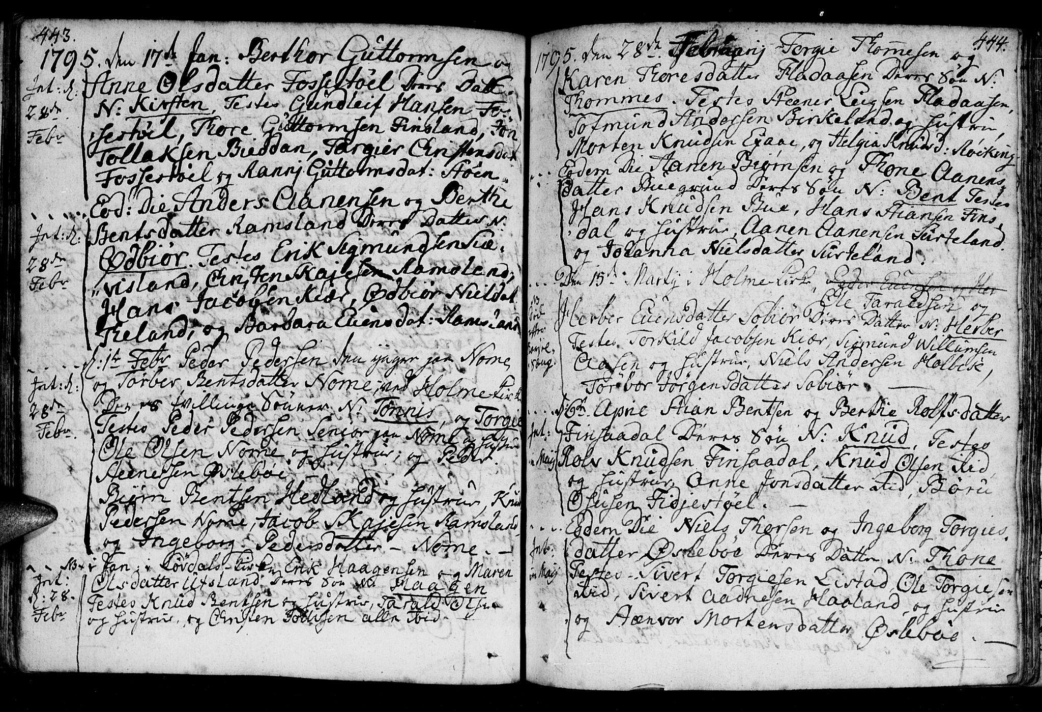 SAK, Holum sokneprestkontor, F/Fa/Fac/L0001: Ministerialbok nr. A 1, 1773-1820, s. 443-444