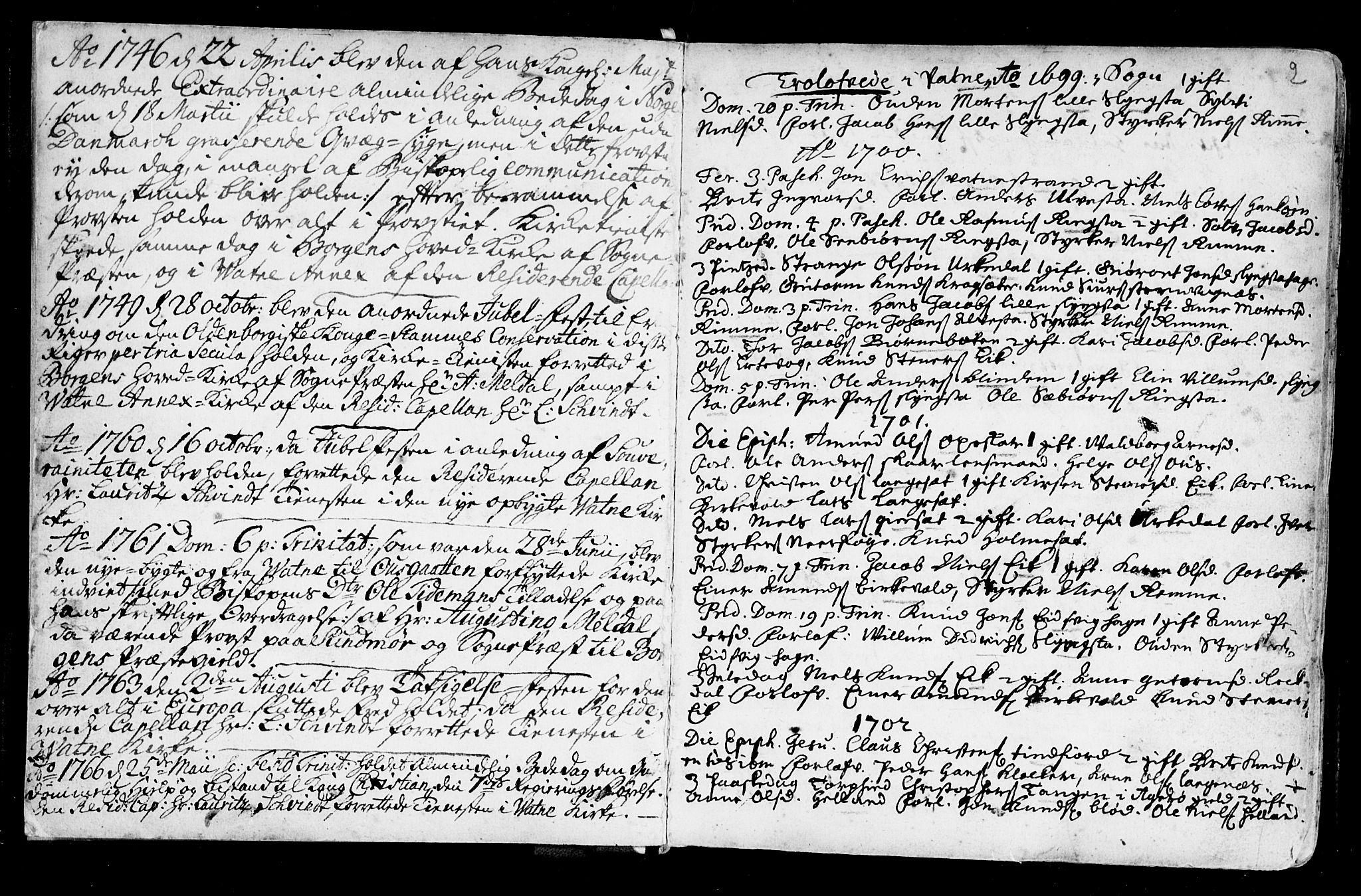 SAT, Ministerialprotokoller, klokkerbøker og fødselsregistre - Møre og Romsdal, 525/L0371: Ministerialbok nr. 525A01, 1699-1777, s. 2