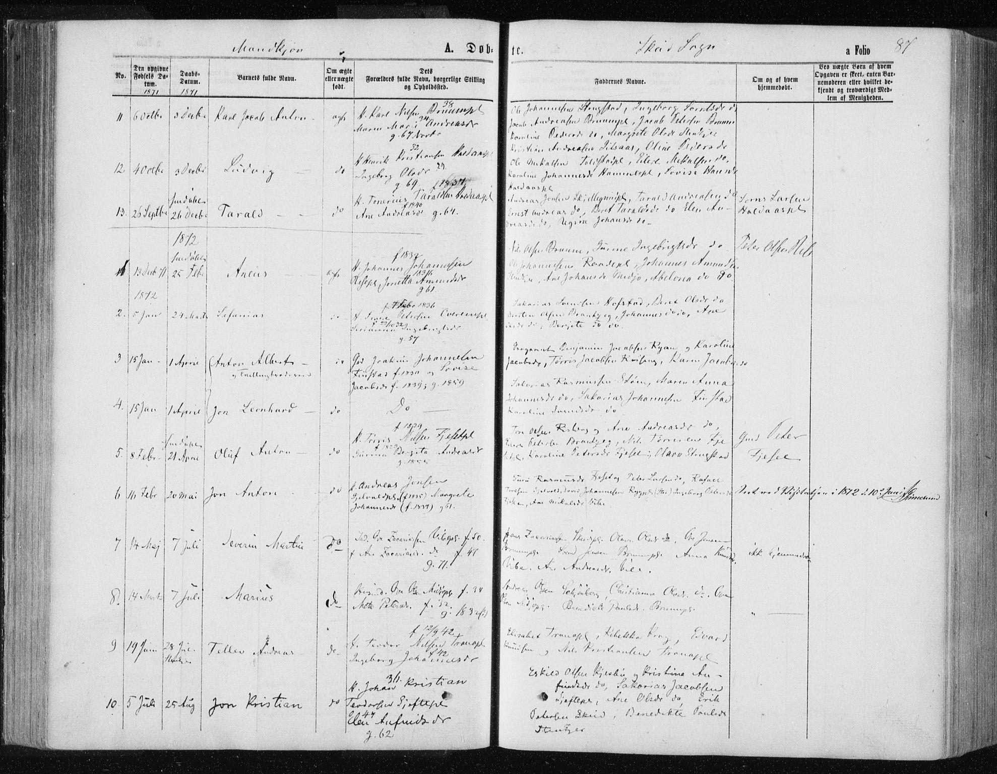 SAT, Ministerialprotokoller, klokkerbøker og fødselsregistre - Nord-Trøndelag, 735/L0345: Ministerialbok nr. 735A08 /2, 1863-1872, s. 87
