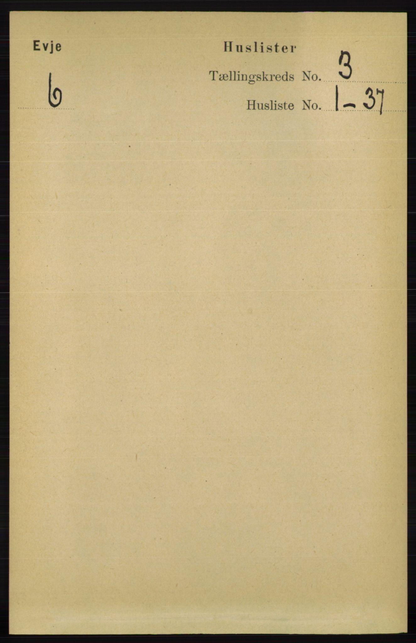 RA, Folketelling 1891 for 0937 Evje herred, 1891, s. 615