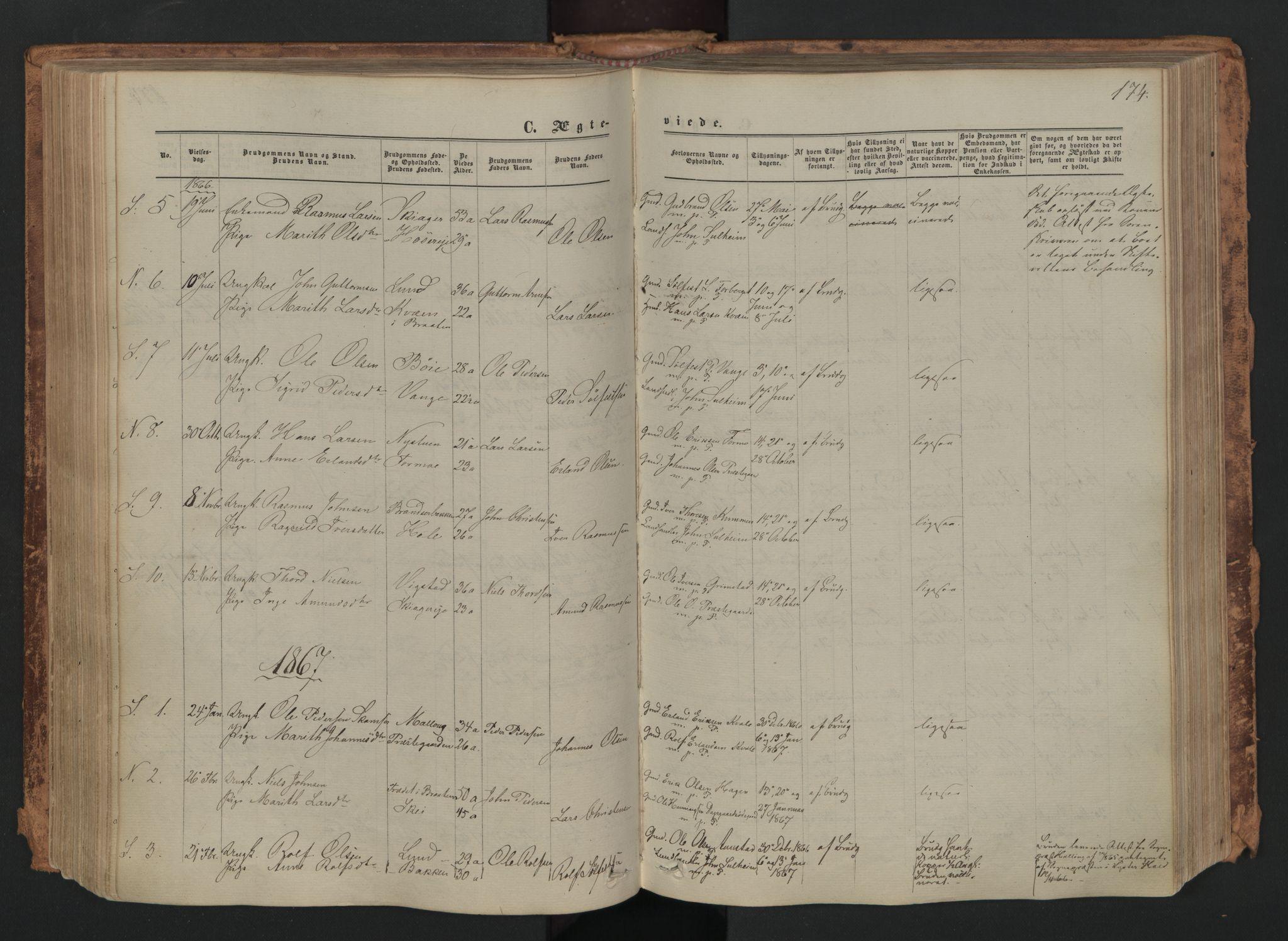 SAH, Skjåk prestekontor, Ministerialbok nr. 1, 1863-1879, s. 174
