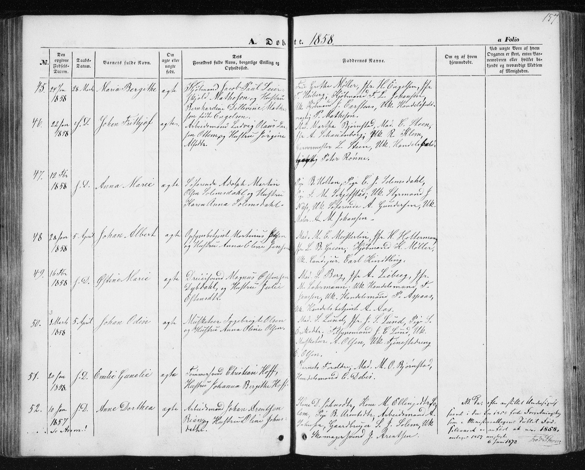 SAT, Ministerialprotokoller, klokkerbøker og fødselsregistre - Sør-Trøndelag, 602/L0112: Ministerialbok nr. 602A10, 1848-1859, s. 157