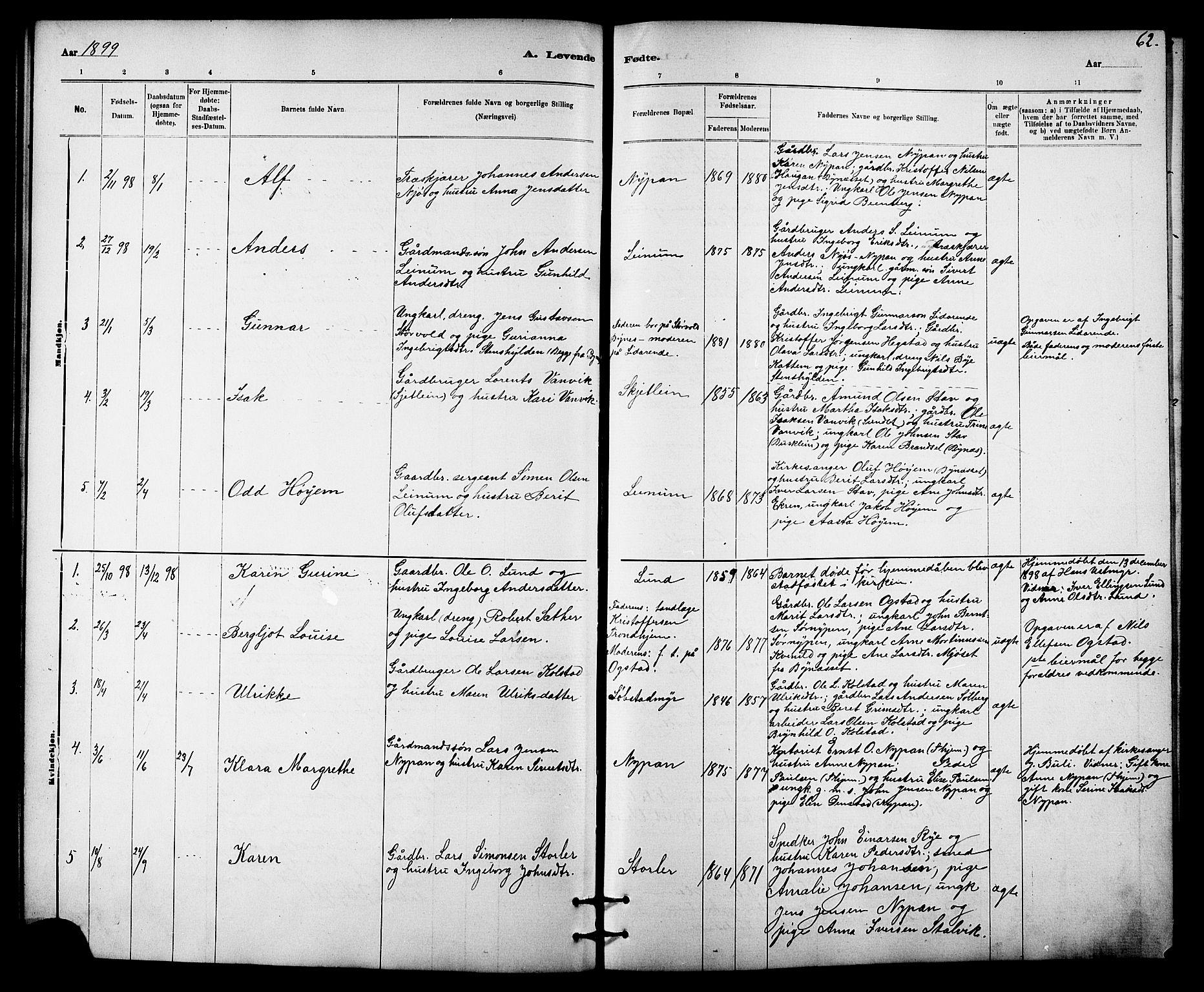 SAT, Ministerialprotokoller, klokkerbøker og fødselsregistre - Sør-Trøndelag, 613/L0395: Klokkerbok nr. 613C03, 1887-1909, s. 62