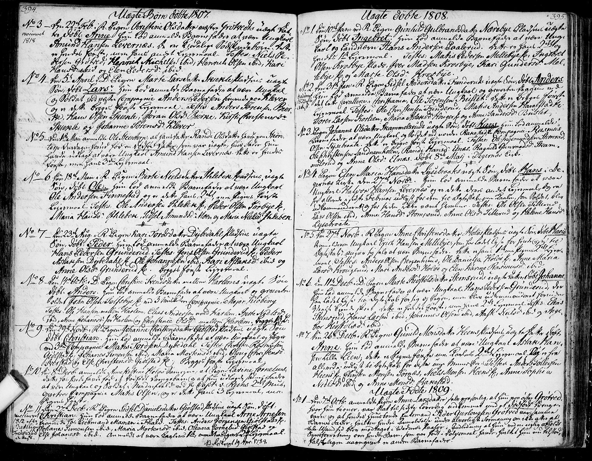 SAO, Rakkestad prestekontor Kirkebøker, F/Fa/L0005: Ministerialbok nr. I 5, 1784-1814, s. 394-395