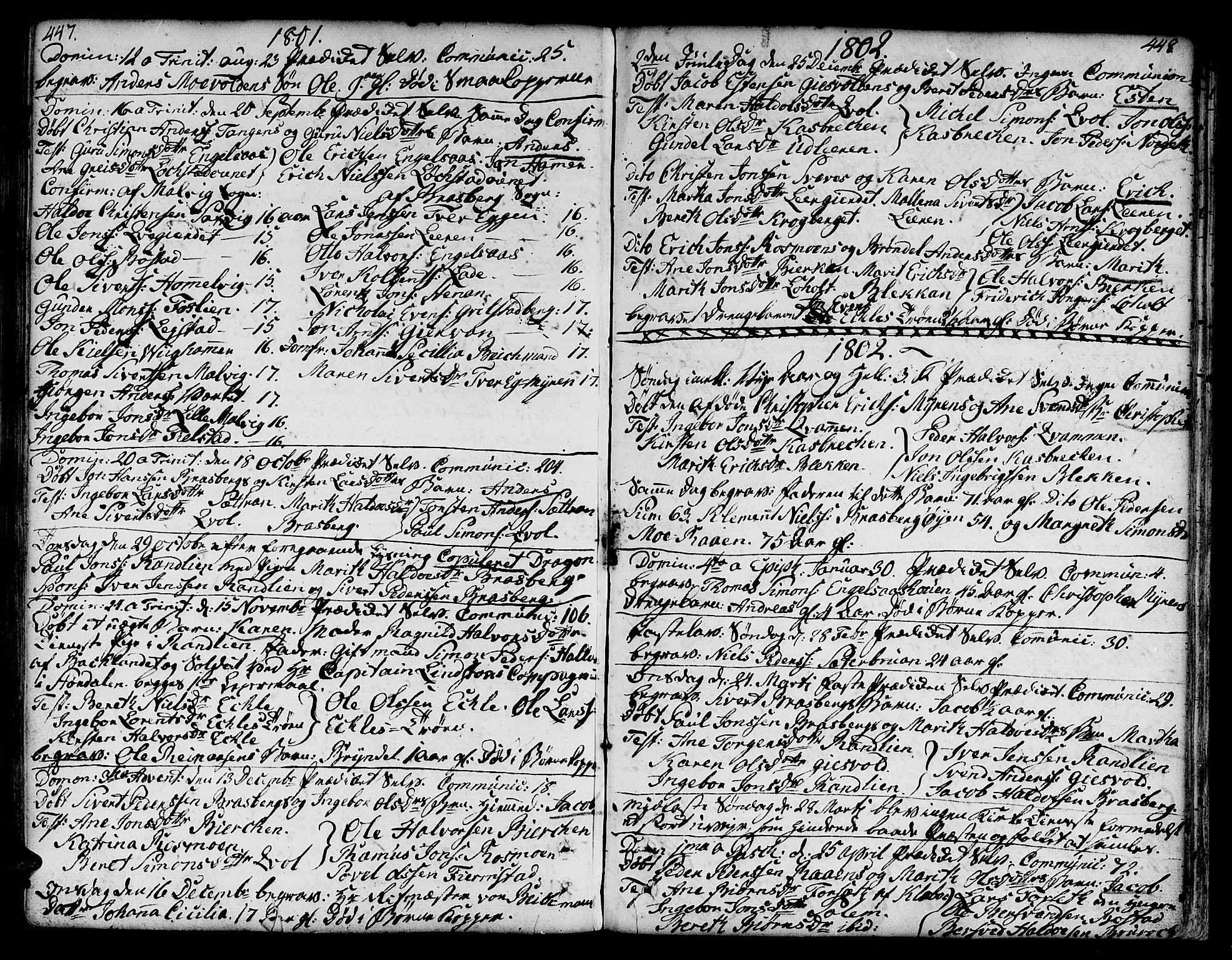 SAT, Ministerialprotokoller, klokkerbøker og fødselsregistre - Sør-Trøndelag, 606/L0282: Ministerialbok nr. 606A02 /3, 1781-1817, s. 447-448