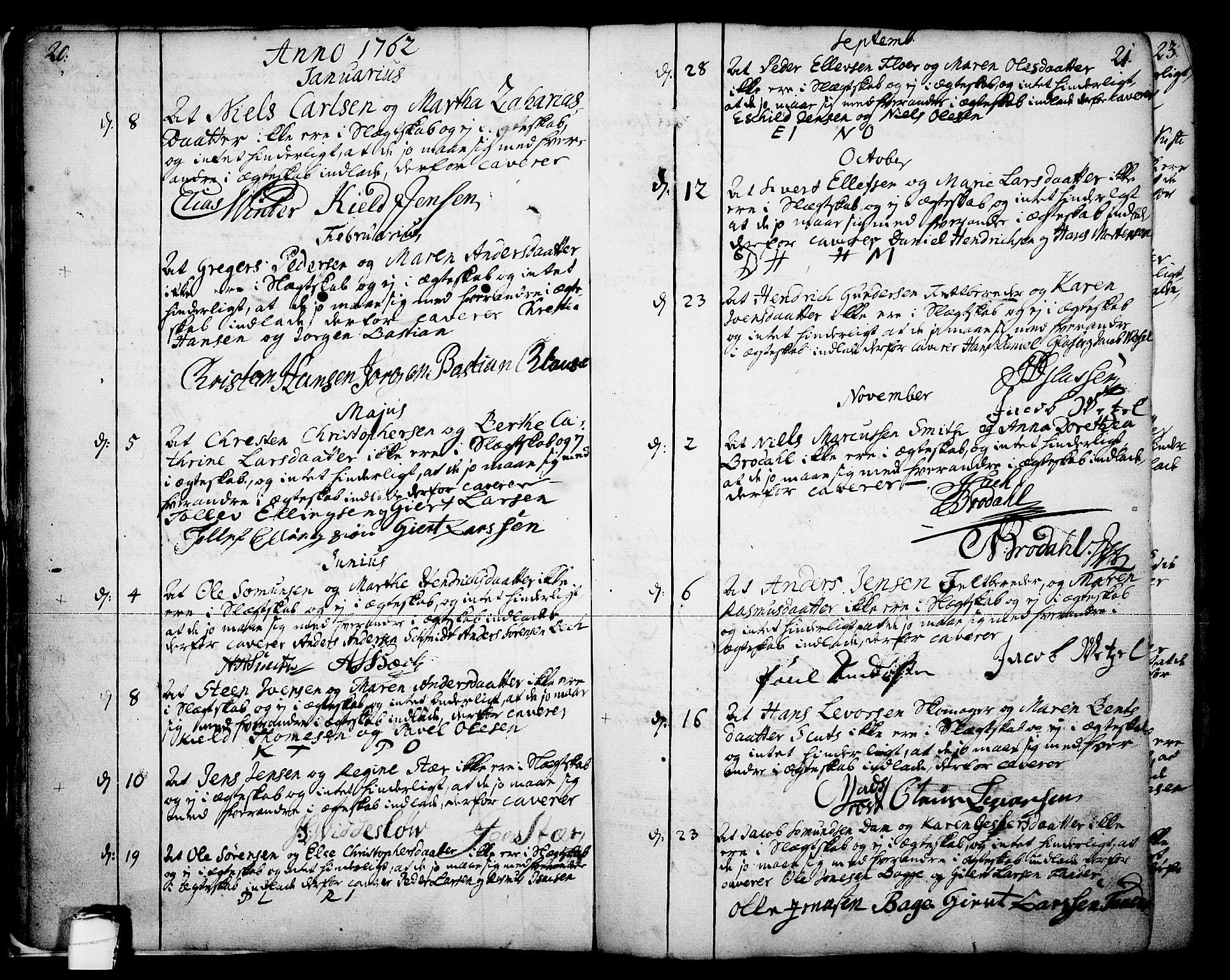 SAKO, Skien kirkebøker, F/Fa/L0003: Ministerialbok nr. 3, 1755-1791, s. 20-21
