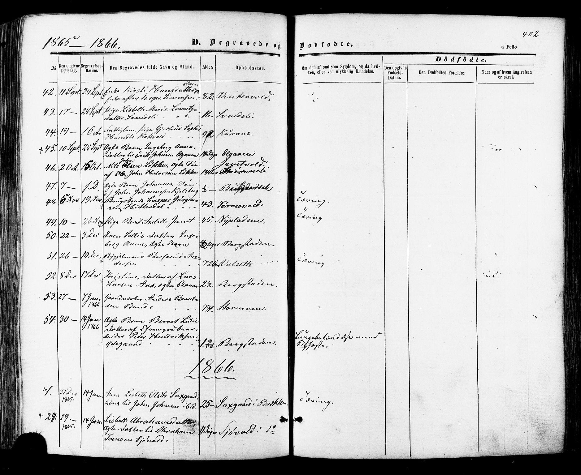 SAT, Ministerialprotokoller, klokkerbøker og fødselsregistre - Sør-Trøndelag, 681/L0932: Ministerialbok nr. 681A10, 1860-1878, s. 402