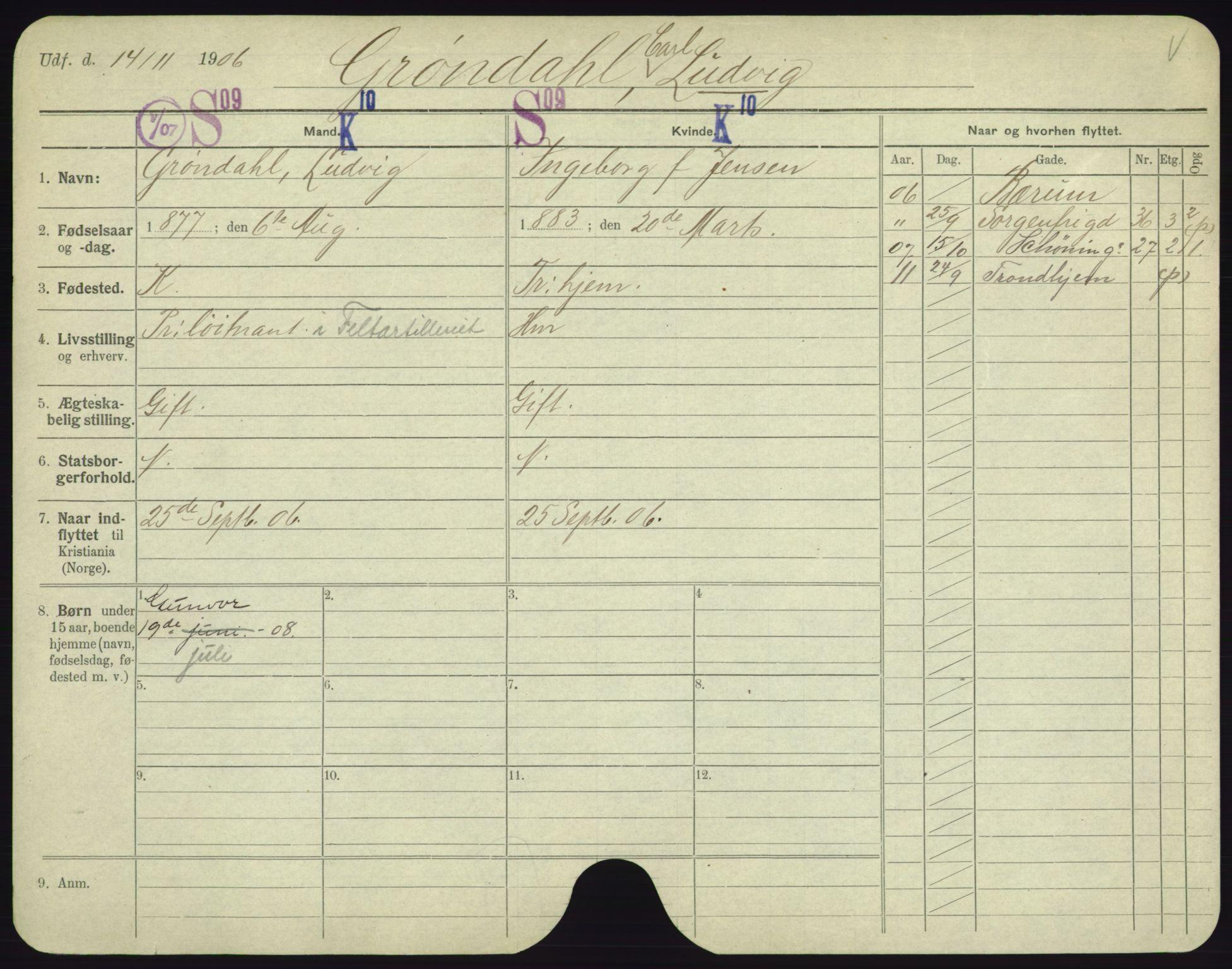 SAO, Oslo folkeregister, Registerkort, F/Fa/Fac/L0003: Menn, 1906-1914, s. 651a