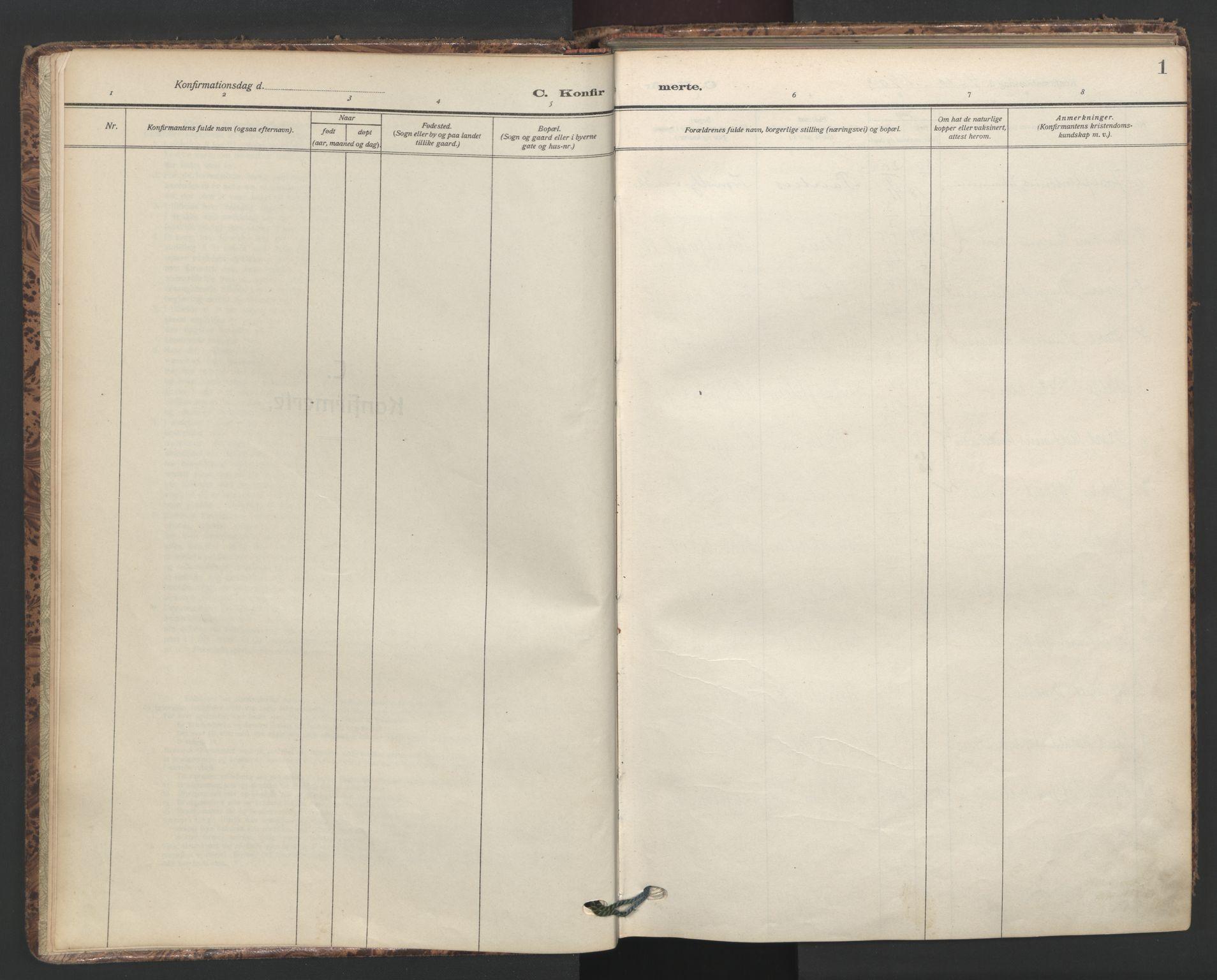 SAO, Petrus prestekontor Kirkebøker, F/Fa/L0011: Ministerialbok nr. 11, 1908-1922, s. 1