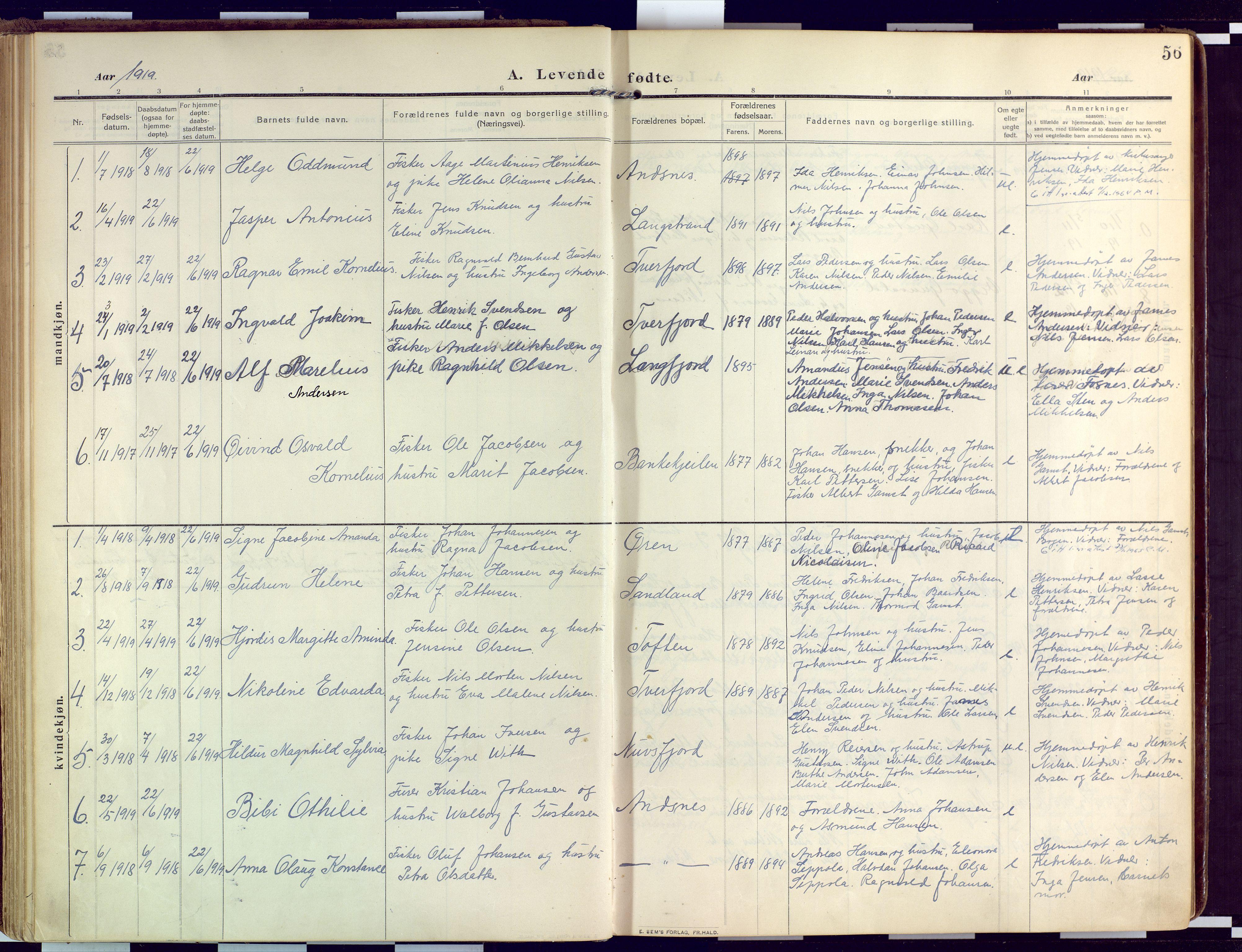 SATØ, Loppa sokneprestkontor, H/Ha/L0011kirke: Ministerialbok nr. 11, 1909-1919, s. 56