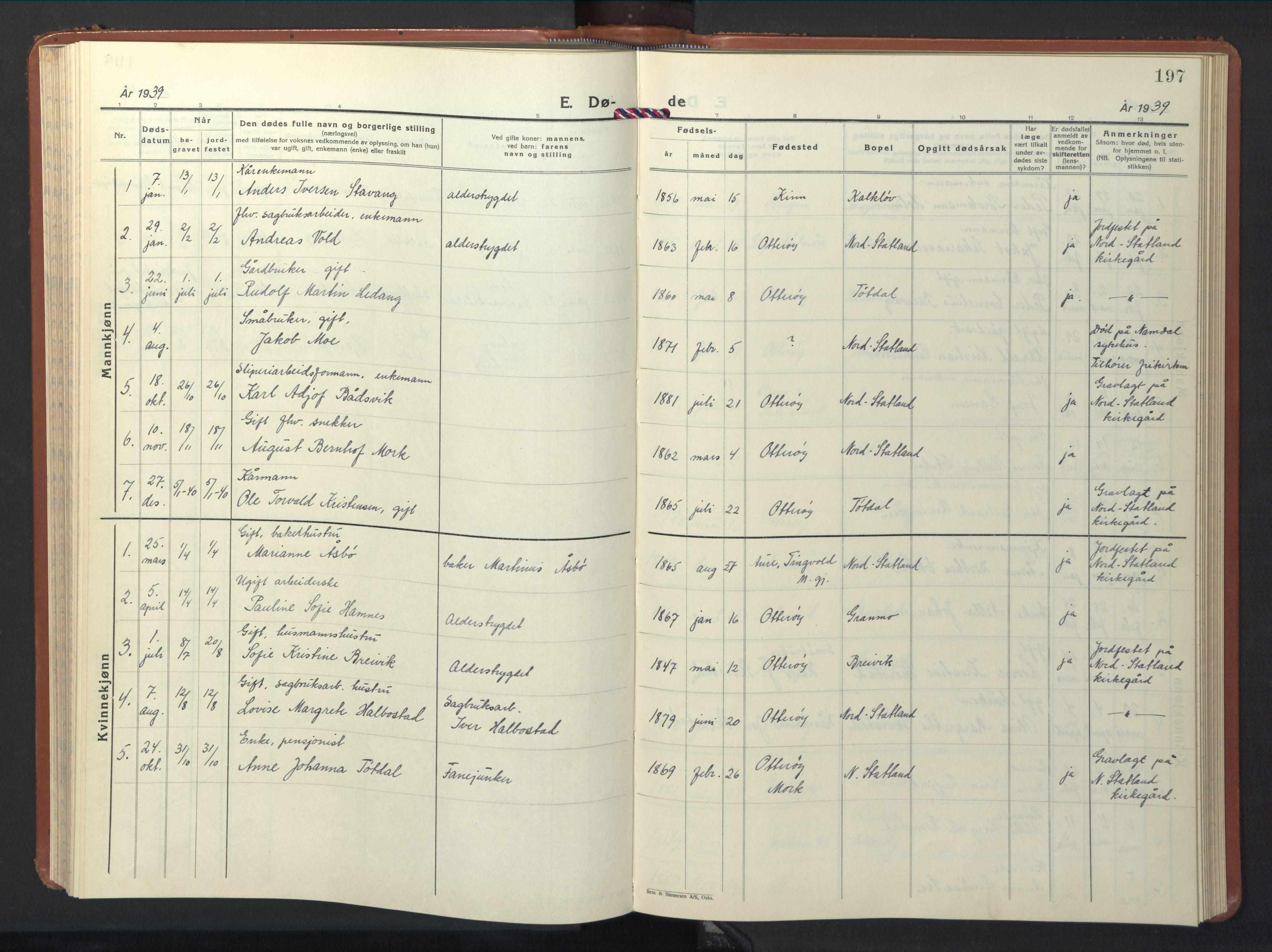 SAT, Ministerialprotokoller, klokkerbøker og fødselsregistre - Nord-Trøndelag, 774/L0631: Klokkerbok nr. 774C02, 1934-1950, s. 197