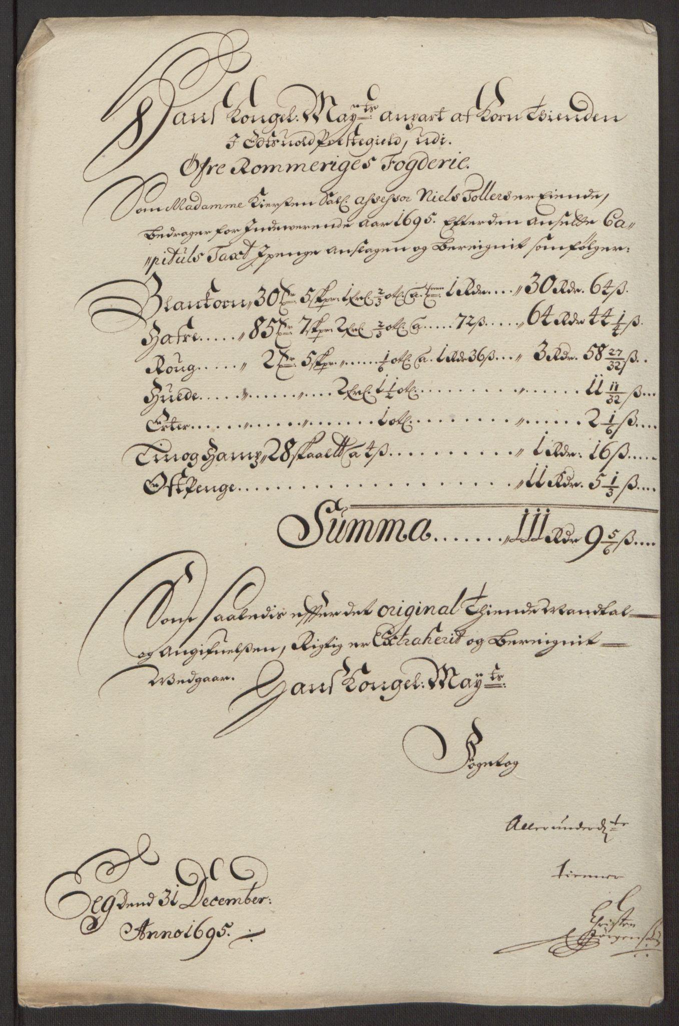 RA, Rentekammeret inntil 1814, Reviderte regnskaper, Fogderegnskap, R12/L0707: Fogderegnskap Øvre Romerike, 1695, s. 50