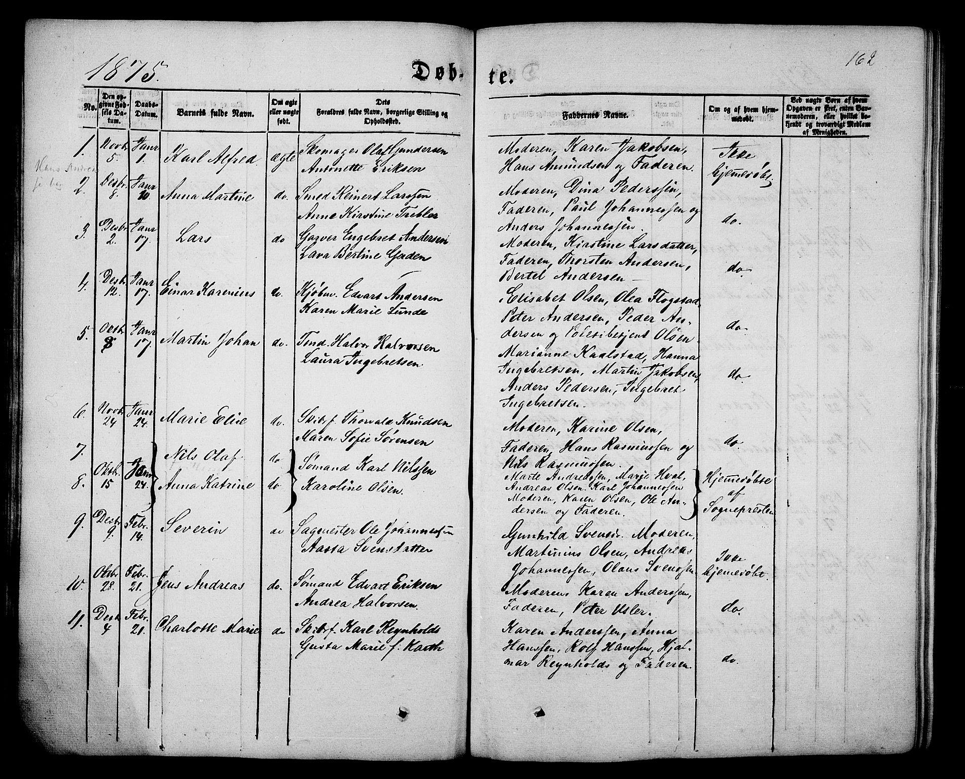 SAKO, Porsgrunn kirkebøker , G/Gb/L0004: Klokkerbok nr. II 4, 1853-1882, s. 162