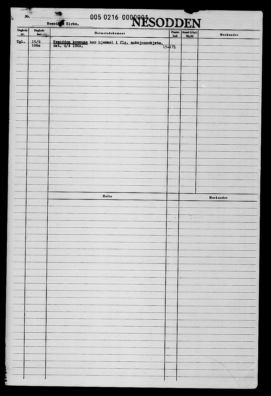 SAO, Ytre Follo tingrett, TINGLYSING, Grunnbøker, Grunnbokblad V: Grunnboksblader for Nesodden kommune pr. 1991, gnr 1, bnr 1