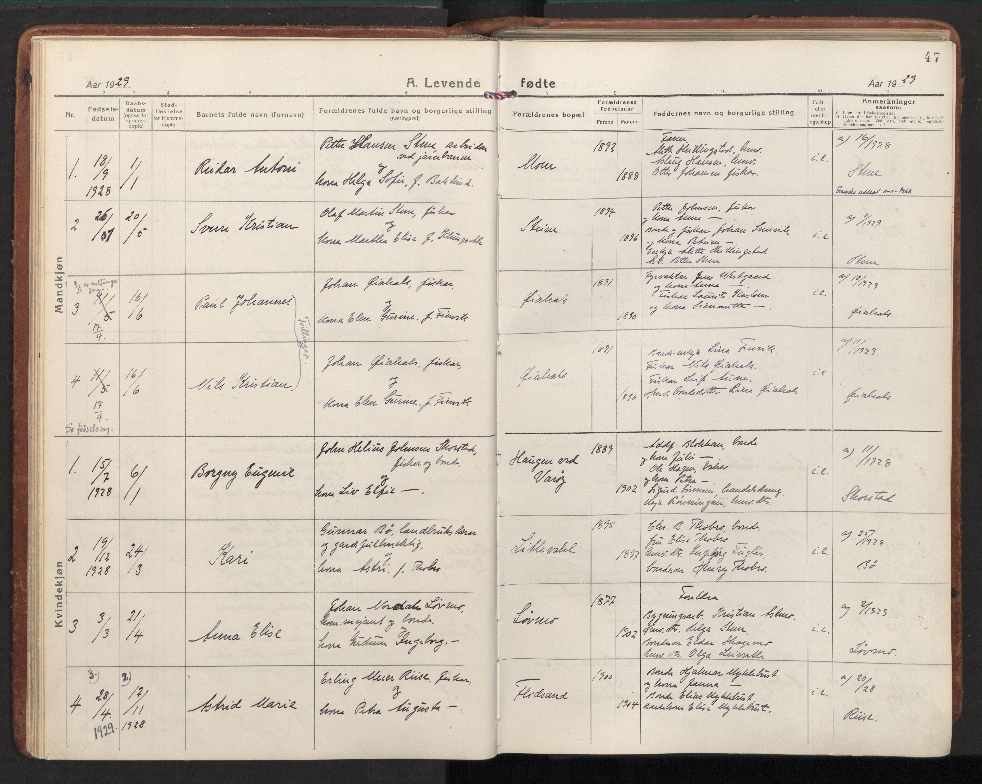 SAT, Ministerialprotokoller, klokkerbøker og fødselsregistre - Nord-Trøndelag, 784/L0678: Ministerialbok nr. 784A13, 1921-1938, s. 47