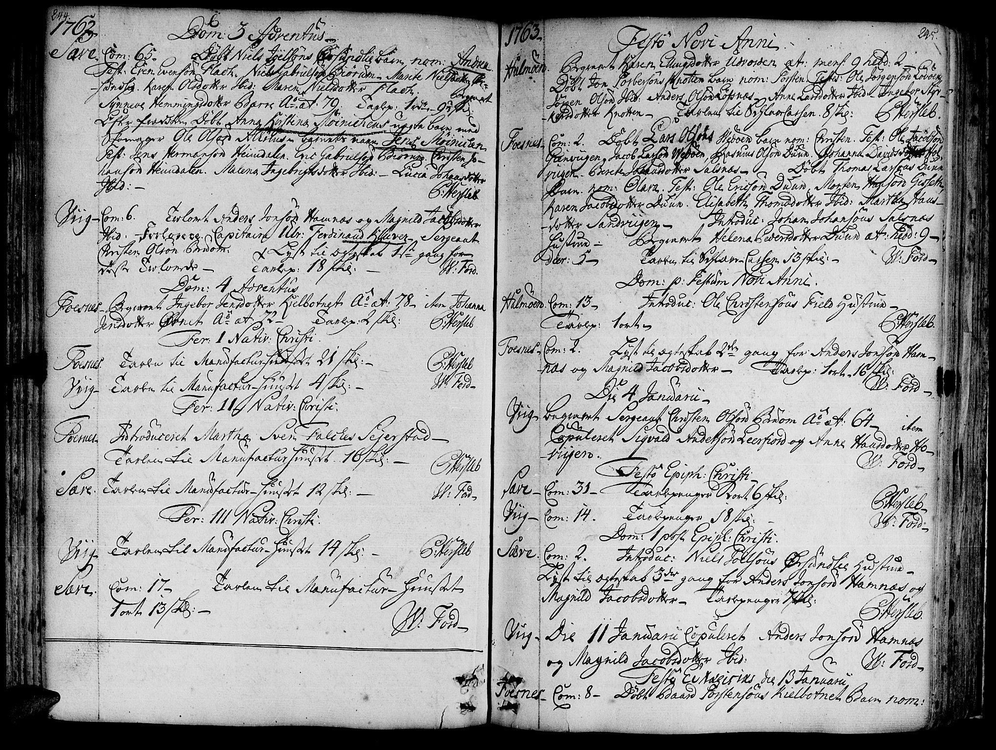 SAT, Ministerialprotokoller, klokkerbøker og fødselsregistre - Nord-Trøndelag, 773/L0607: Ministerialbok nr. 773A01, 1751-1783, s. 244-245