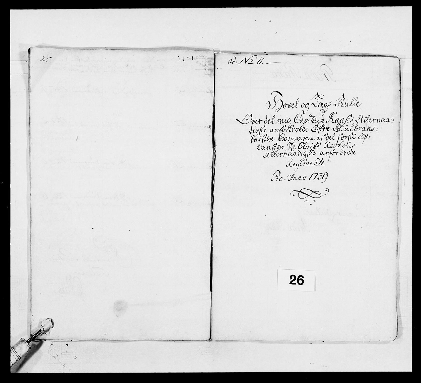 RA, Kommanderende general (KG I) med Det norske krigsdirektorium, E/Ea/L0502: 1. Opplandske regiment, 1720-1743, s. 290