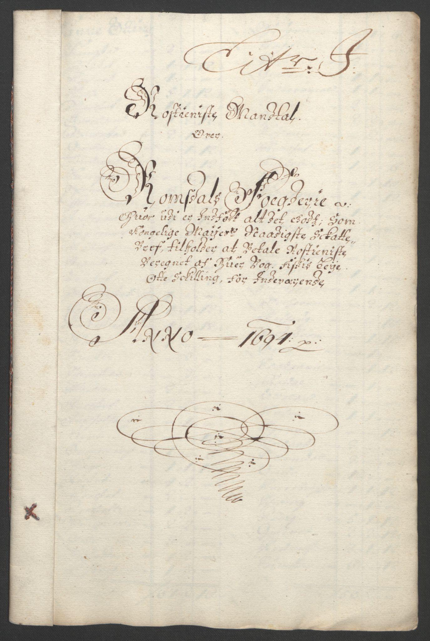 RA, Rentekammeret inntil 1814, Reviderte regnskaper, Fogderegnskap, R55/L3651: Fogderegnskap Romsdal, 1693-1694, s. 254