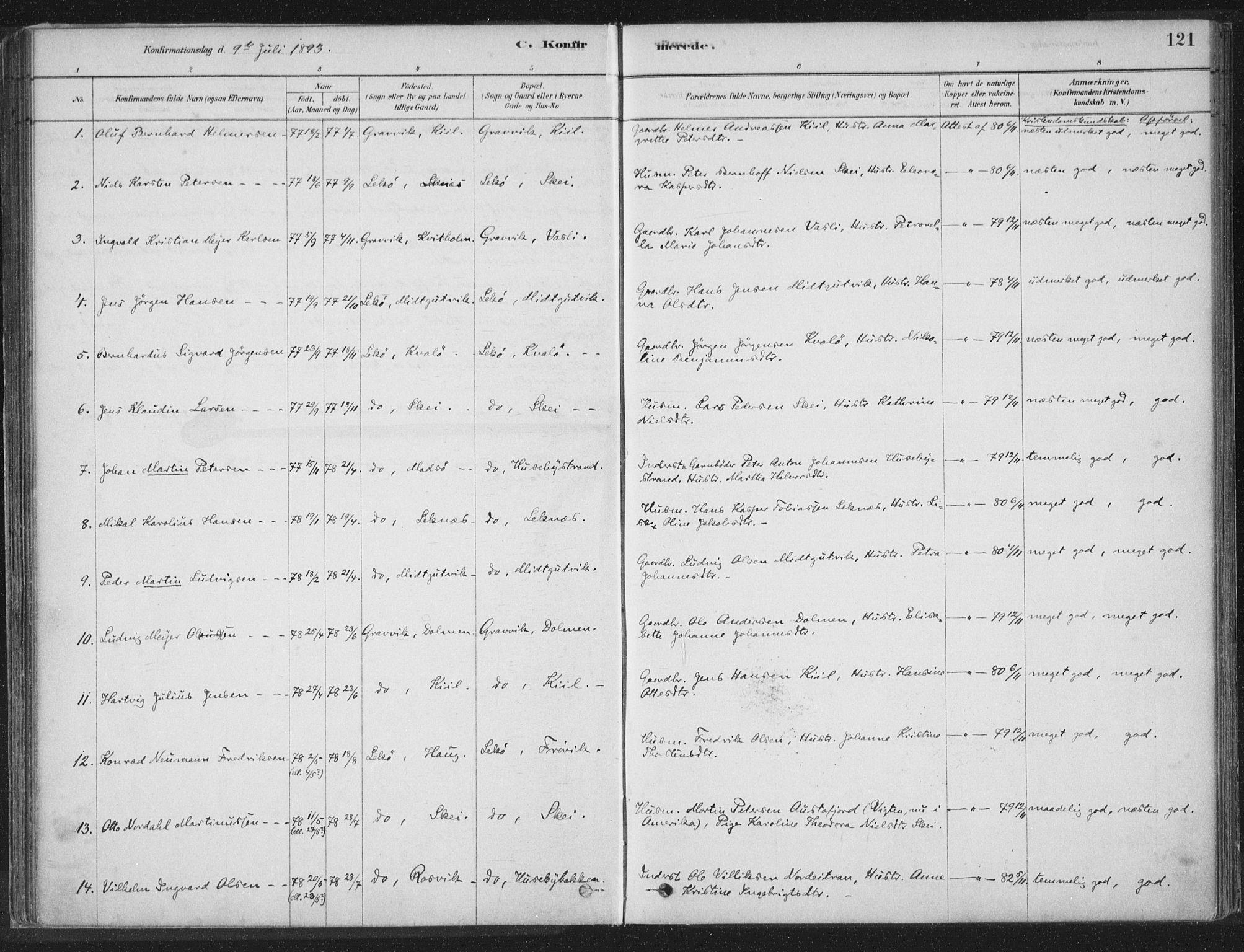 SAT, Ministerialprotokoller, klokkerbøker og fødselsregistre - Nord-Trøndelag, 788/L0697: Ministerialbok nr. 788A04, 1878-1902, s. 121