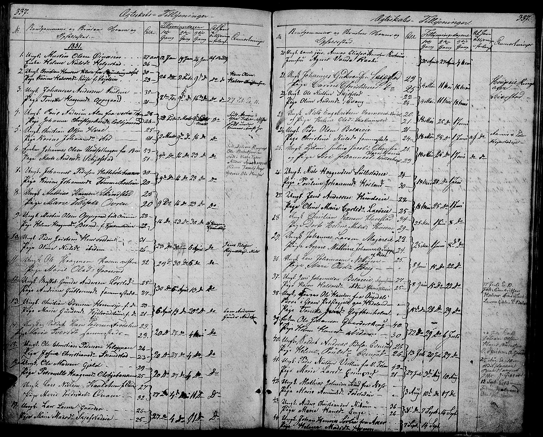 SAH, Østre Toten prestekontor, Klokkerbok nr. 3, 1848-1857, s. 337