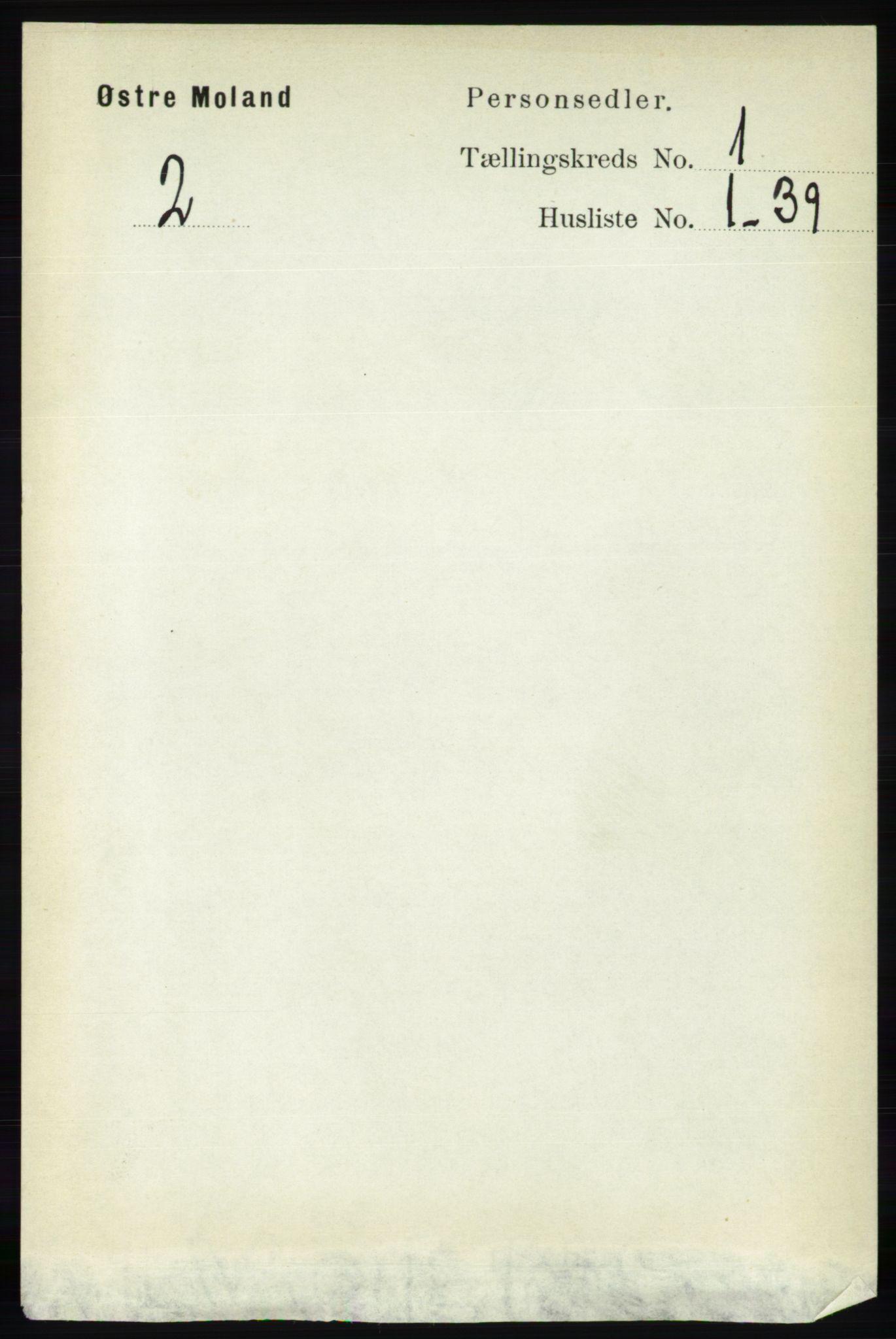 RA, Folketelling 1891 for 0918 Austre Moland herred, 1891, s. 93