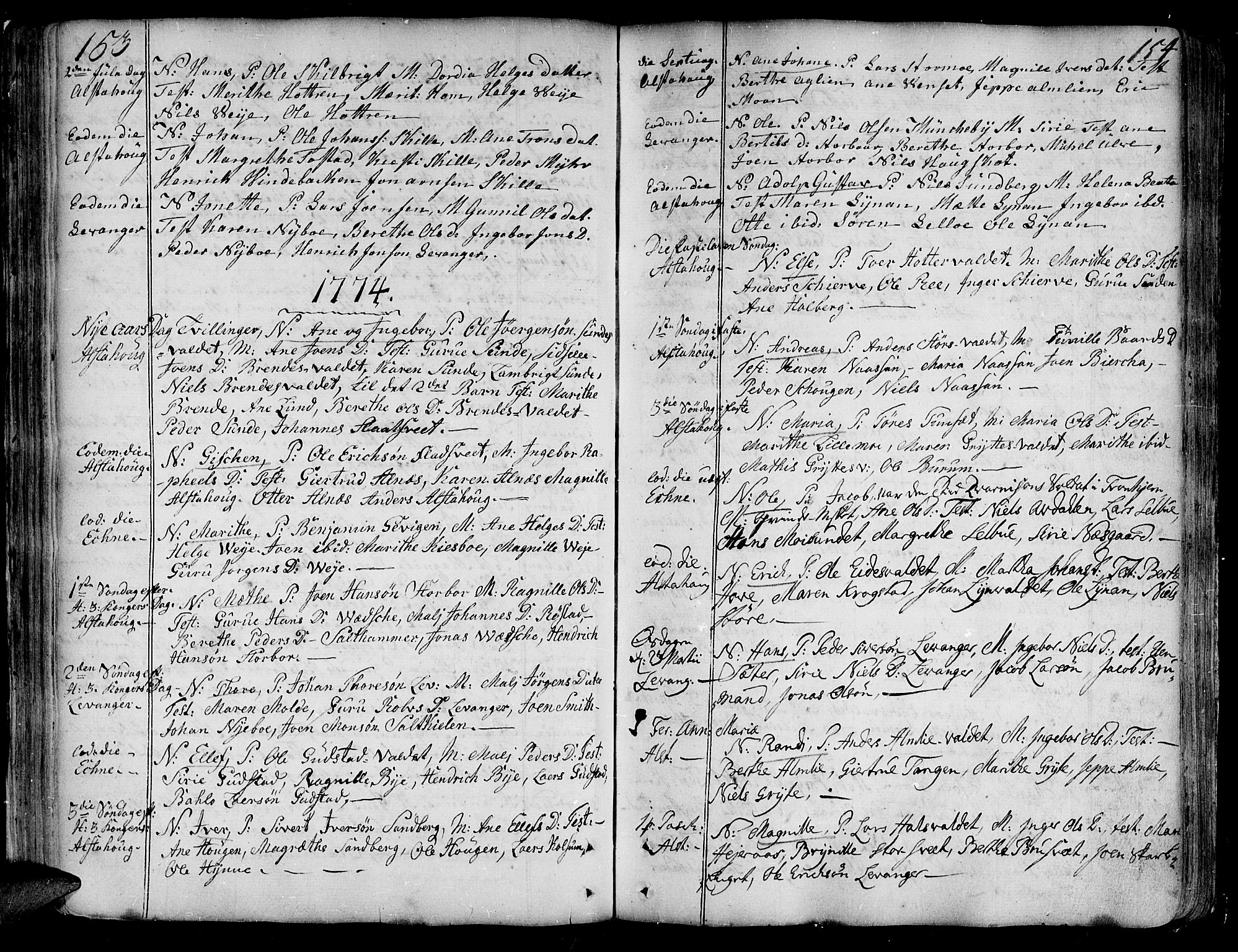 SAT, Ministerialprotokoller, klokkerbøker og fødselsregistre - Nord-Trøndelag, 717/L0141: Ministerialbok nr. 717A01, 1747-1803, s. 153-154