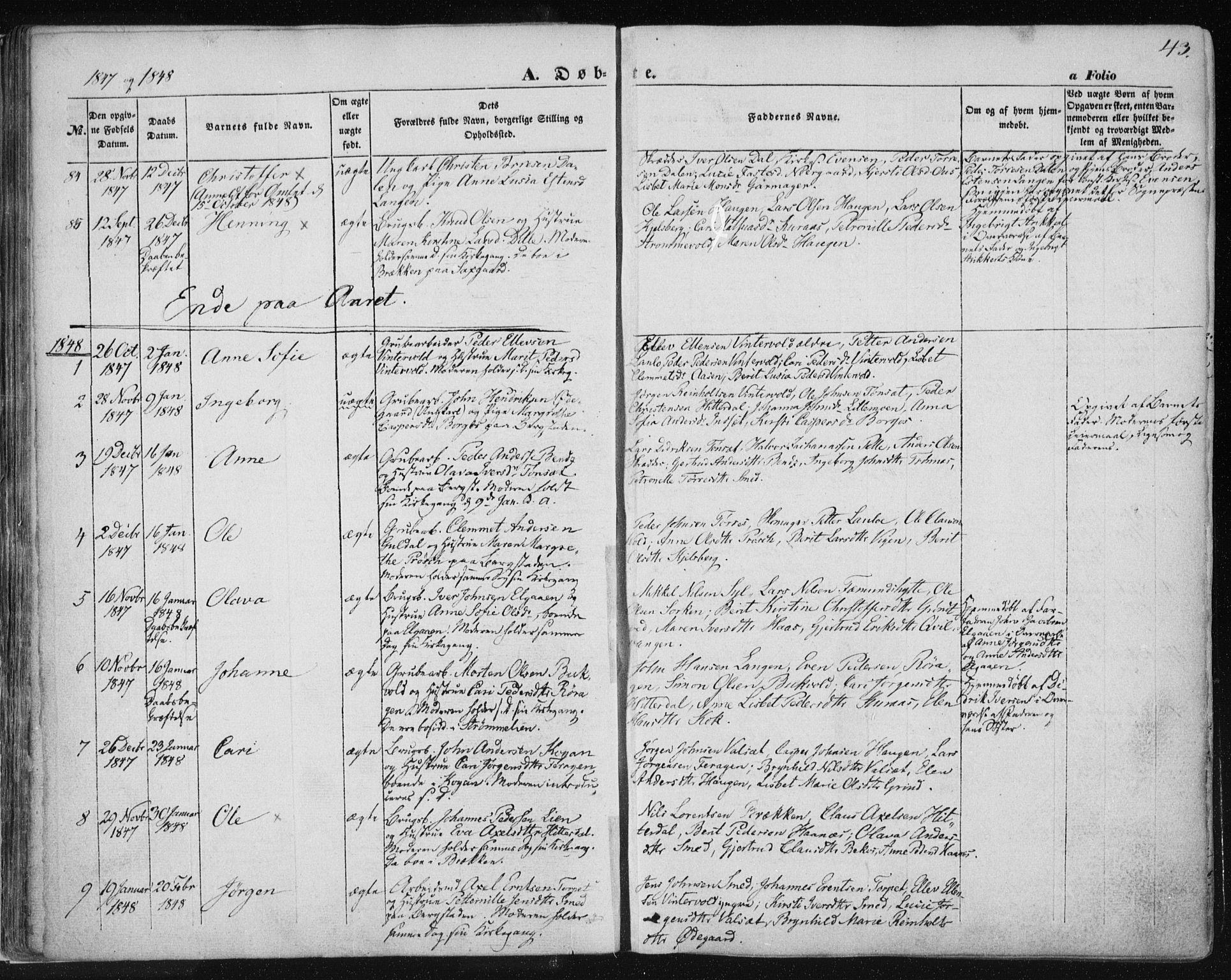 SAT, Ministerialprotokoller, klokkerbøker og fødselsregistre - Sør-Trøndelag, 681/L0931: Ministerialbok nr. 681A09, 1845-1859, s. 43