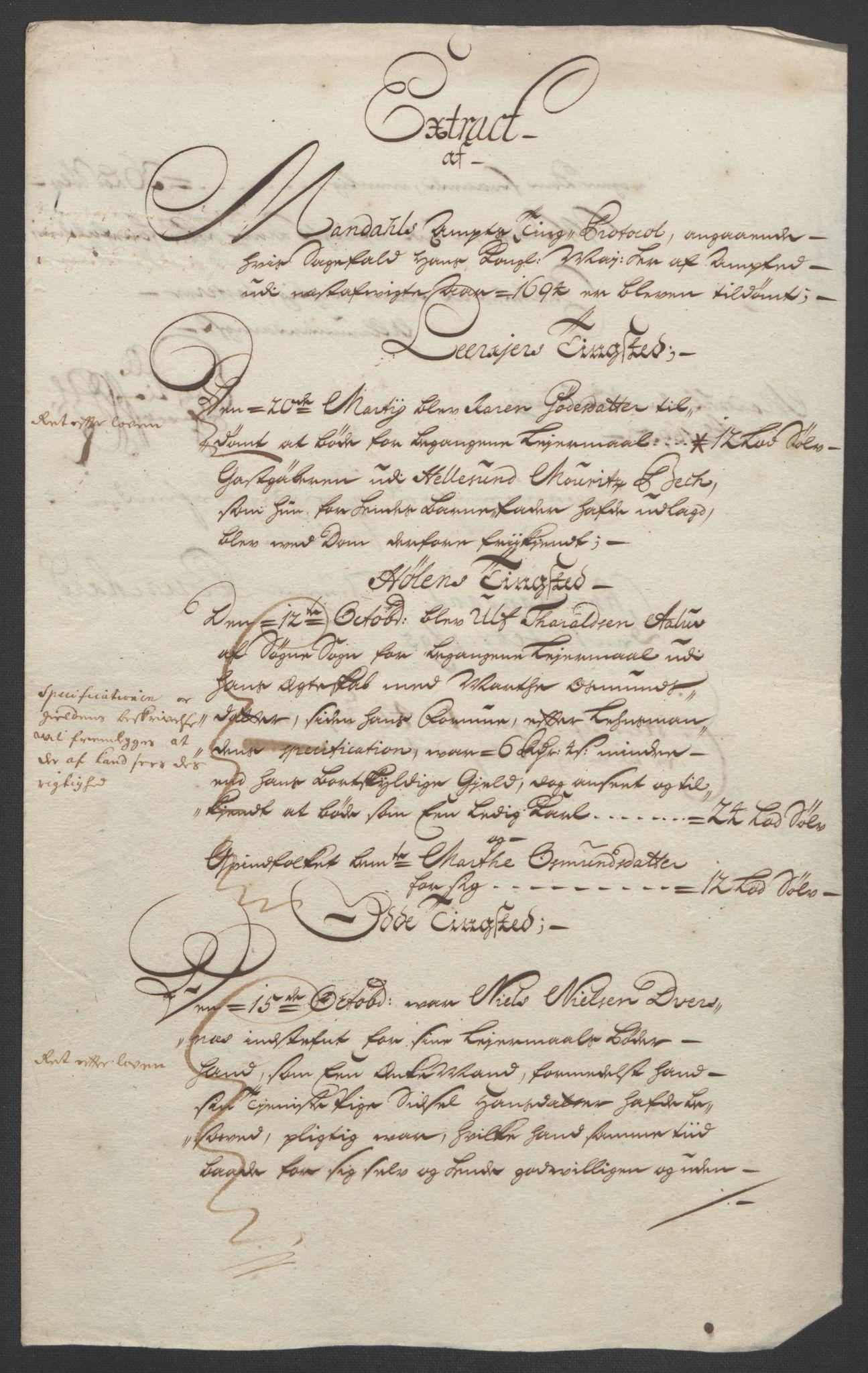 RA, Rentekammeret inntil 1814, Reviderte regnskaper, Fogderegnskap, R43/L2545: Fogderegnskap Lista og Mandal, 1694-1695, s. 94