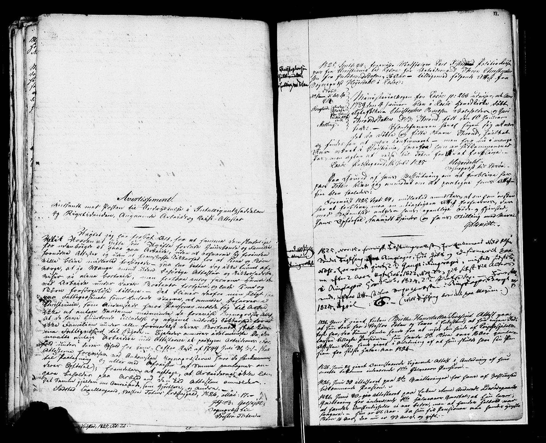 SAH, Vestre Toten prestekontor, H/Ha/Haa/L0001: Ministerialbok nr. 1, 1825-1826, s. 71