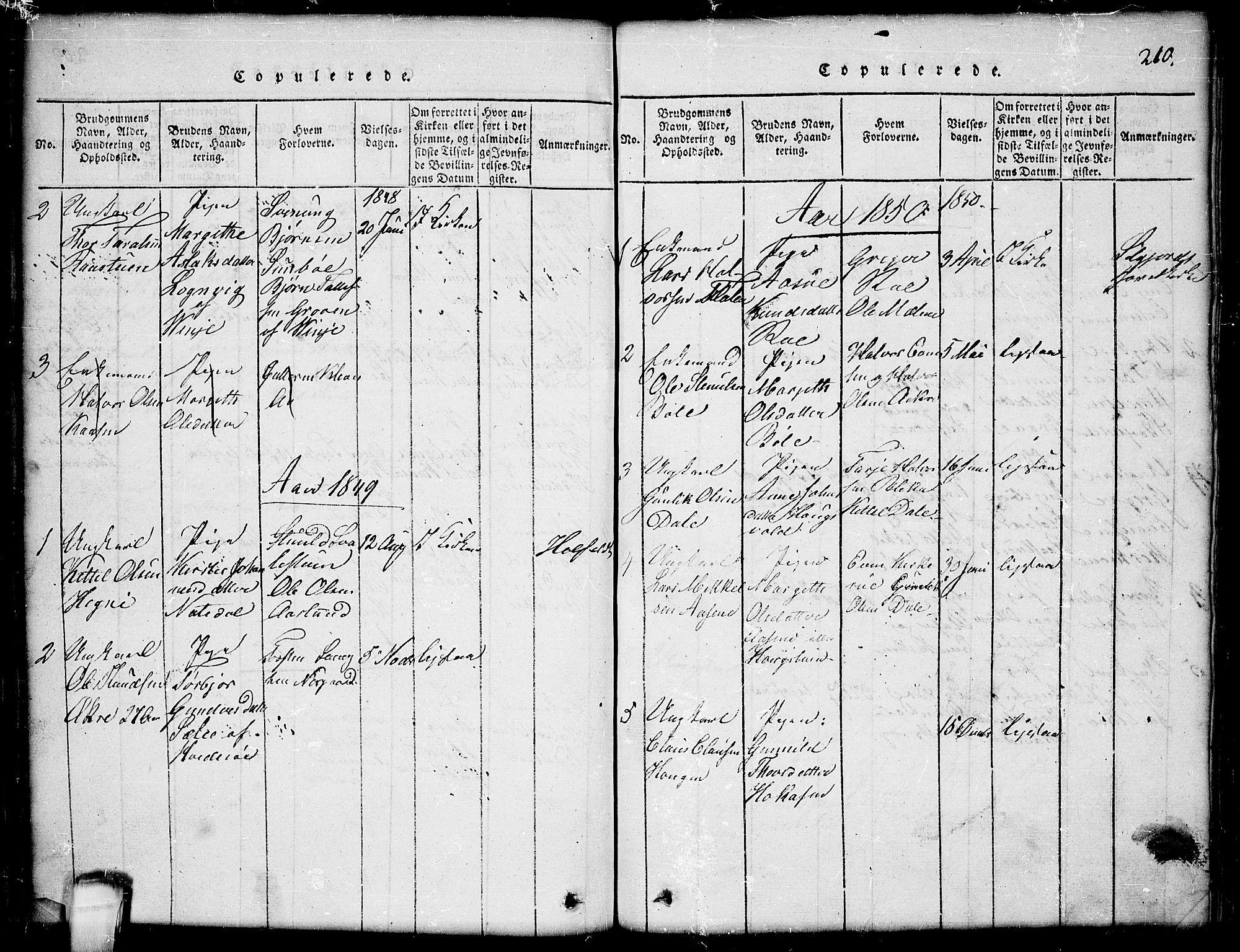 SAKO, Seljord kirkebøker, G/Gb/L0002: Klokkerbok nr. II 2, 1815-1854, s. 210