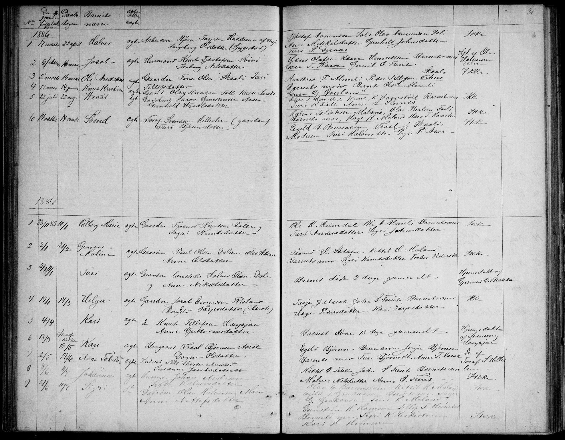 SAKO, Nissedal kirkebøker, G/Gb/L0002: Klokkerbok nr. II 2, 1863-1892, s. 36