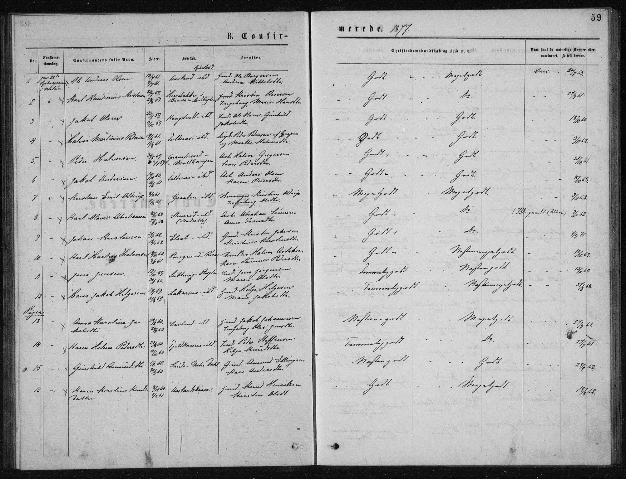 SAKO, Solum kirkebøker, G/Ga/L0005: Klokkerbok nr. I 5, 1877-1881, s. 59