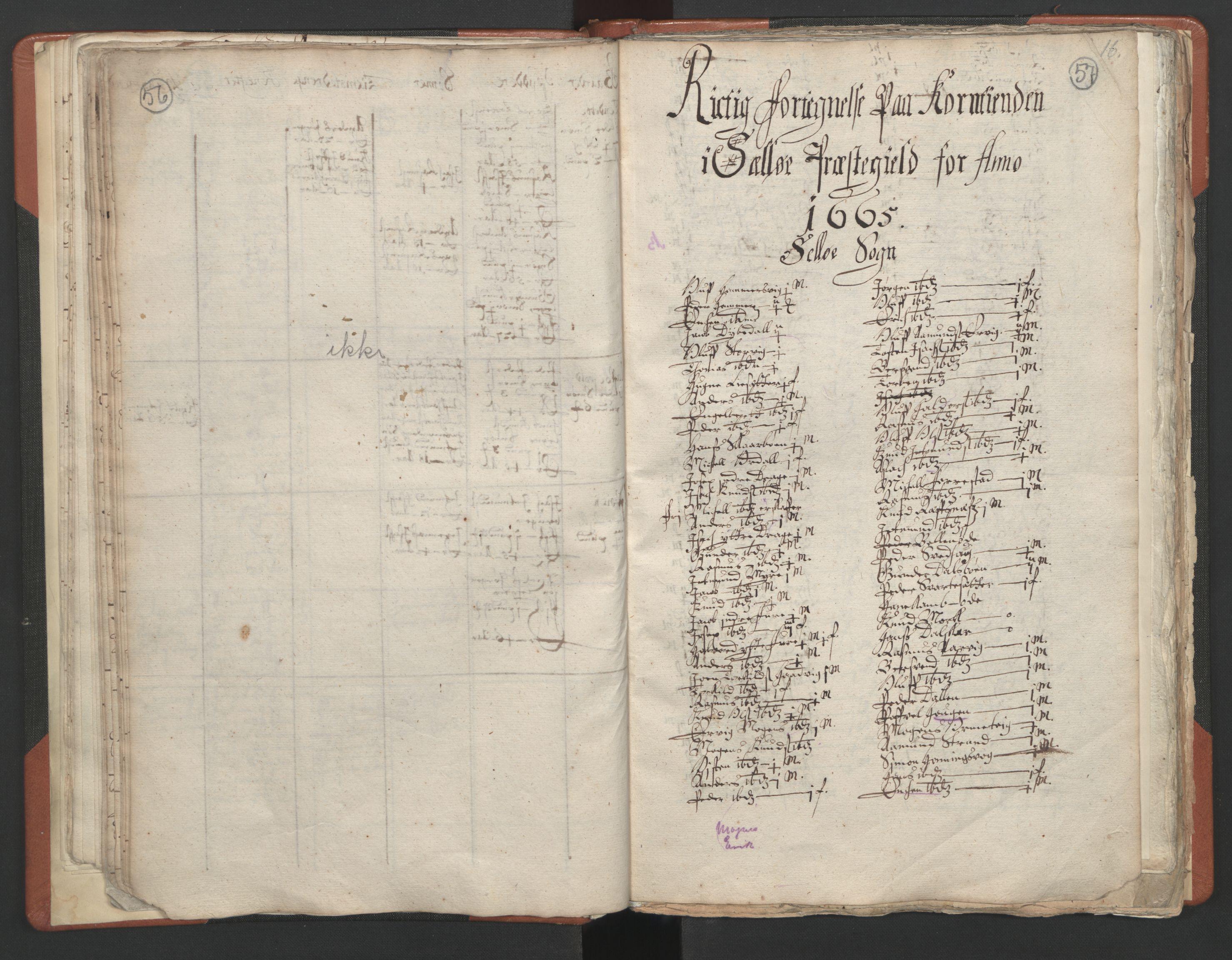 RA, Sogneprestenes manntall 1664-1666, nr. 25: Nordfjord prosti, 1664-1666, s. 56-57