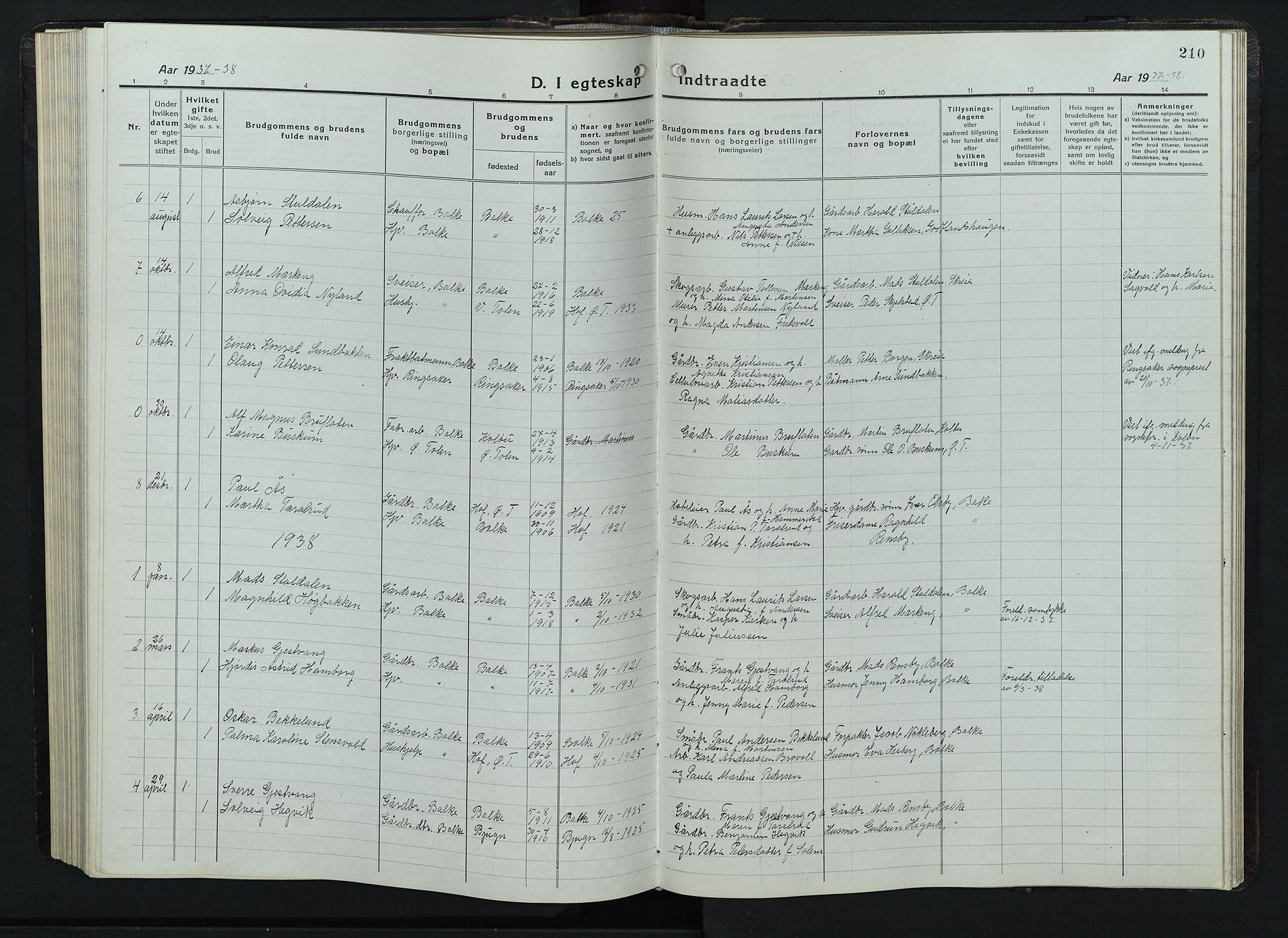 SAH, Balke prestekontor, Klokkerbok nr. 1, 1920-1955, s. 210