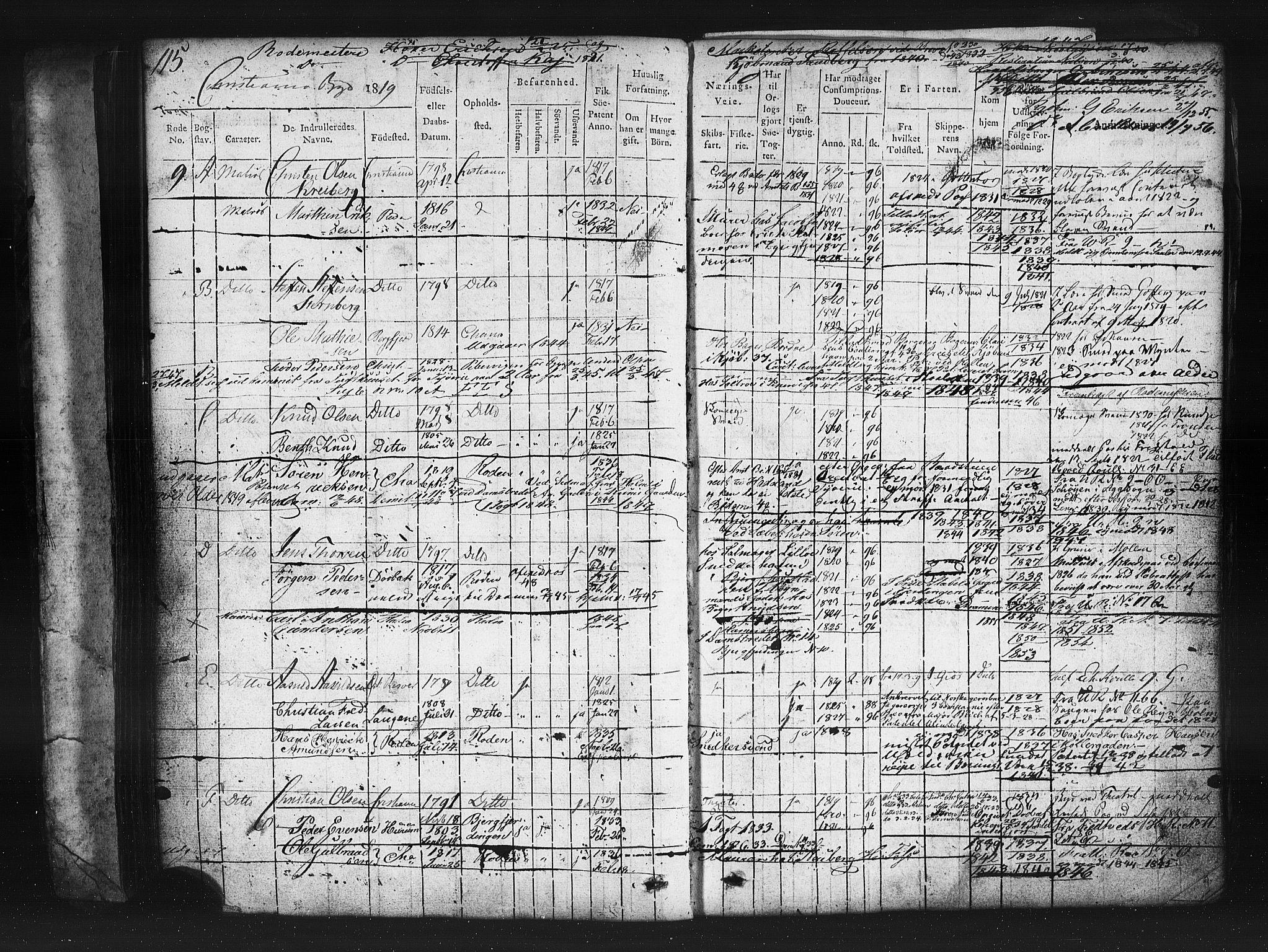 SAO, Oslo mønstringskontor, F/Fc/Fcb/L0001: Hovedrulle, 1819, s. 115