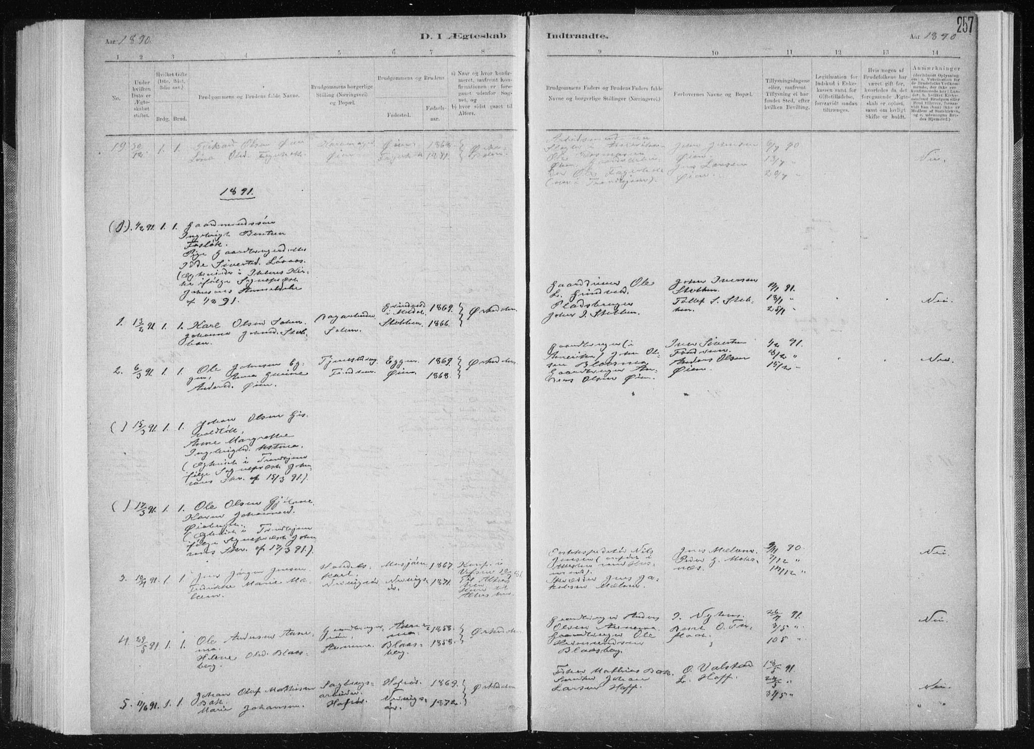 SAT, Ministerialprotokoller, klokkerbøker og fødselsregistre - Sør-Trøndelag, 668/L0818: Klokkerbok nr. 668C07, 1885-1898, s. 257