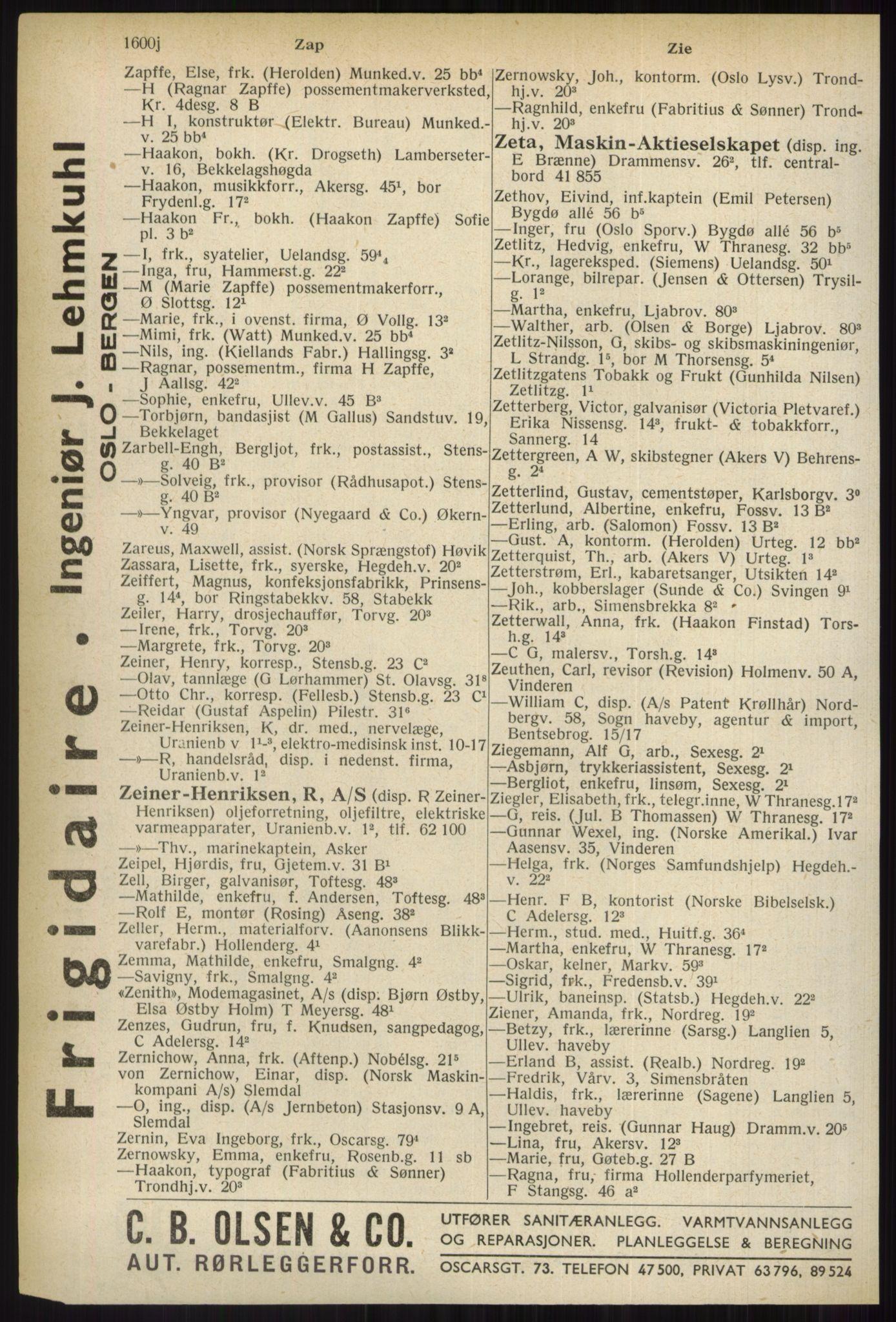 PUBL, Kristiania/Oslo adressebok, 1937, s. 1600