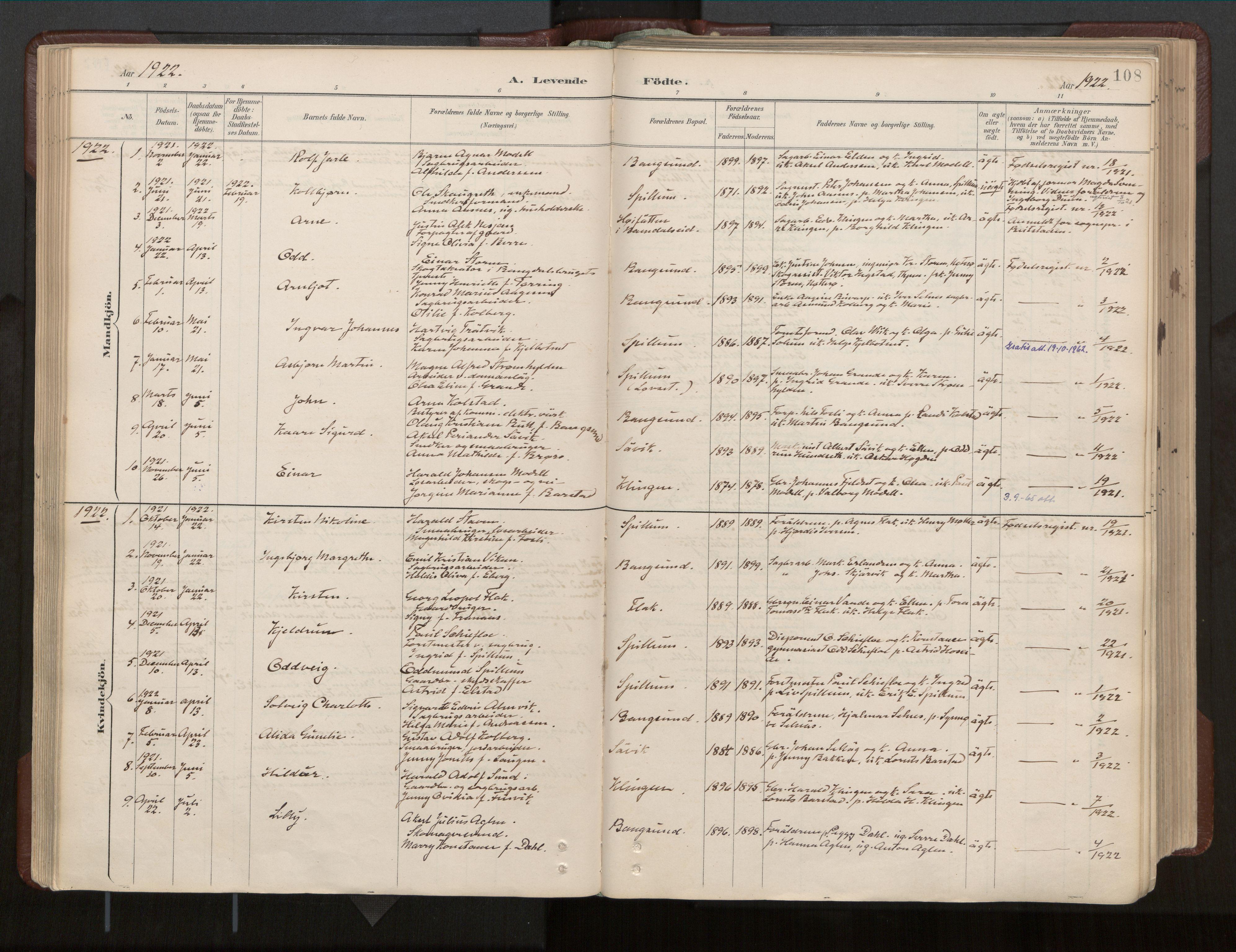 SAT, Ministerialprotokoller, klokkerbøker og fødselsregistre - Nord-Trøndelag, 770/L0589: Ministerialbok nr. 770A03, 1887-1929, s. 108