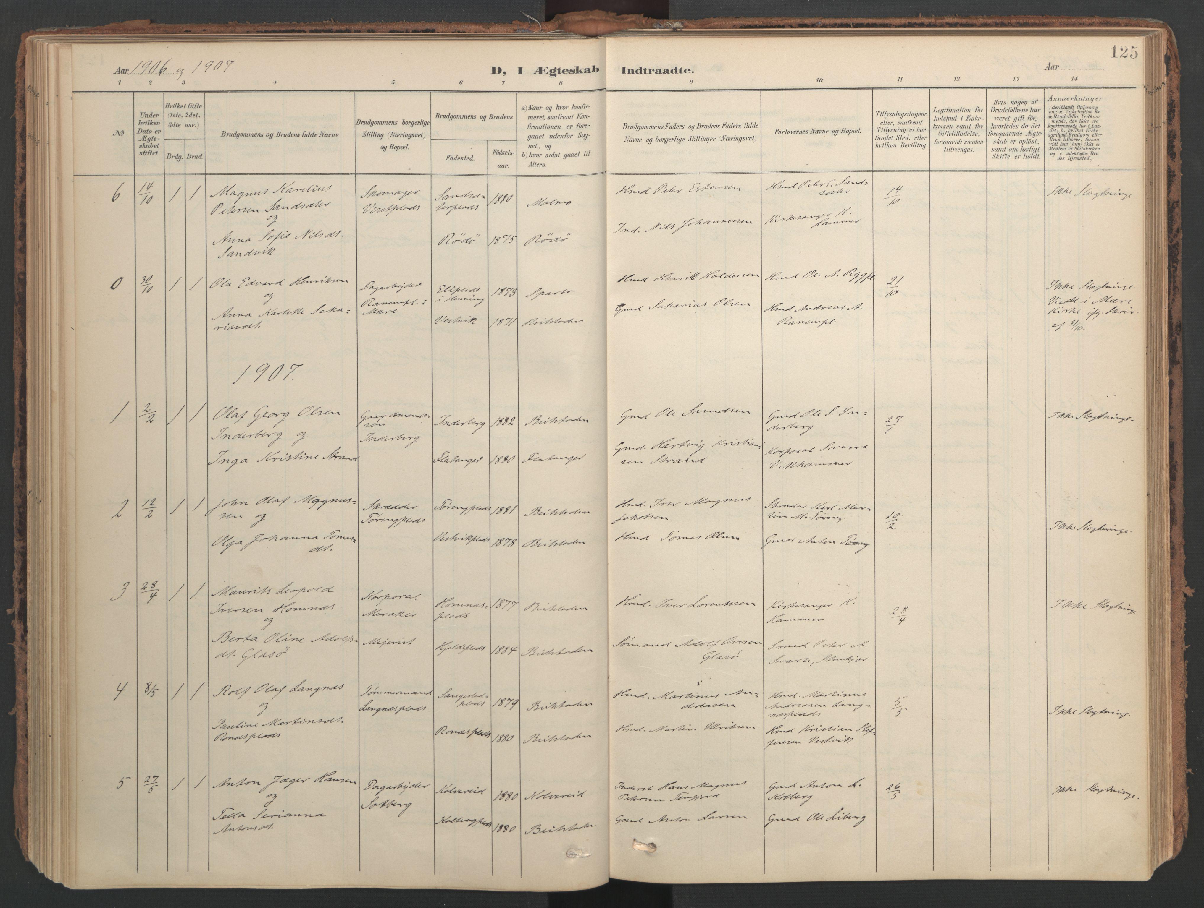 SAT, Ministerialprotokoller, klokkerbøker og fødselsregistre - Nord-Trøndelag, 741/L0397: Ministerialbok nr. 741A11, 1901-1911, s. 125